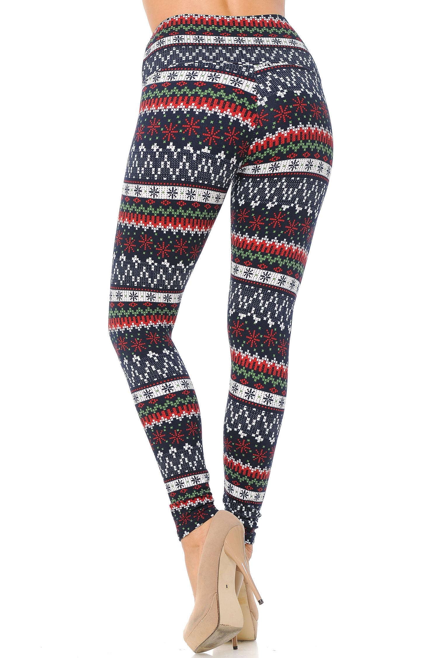 Burgundy Snowflakes High Waisted Fleece Lined Leggings