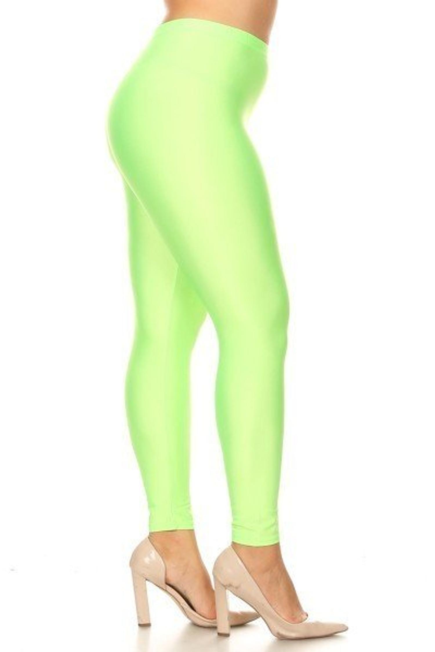Neon Green Premium Shiny Stretch Plus Size Leggings