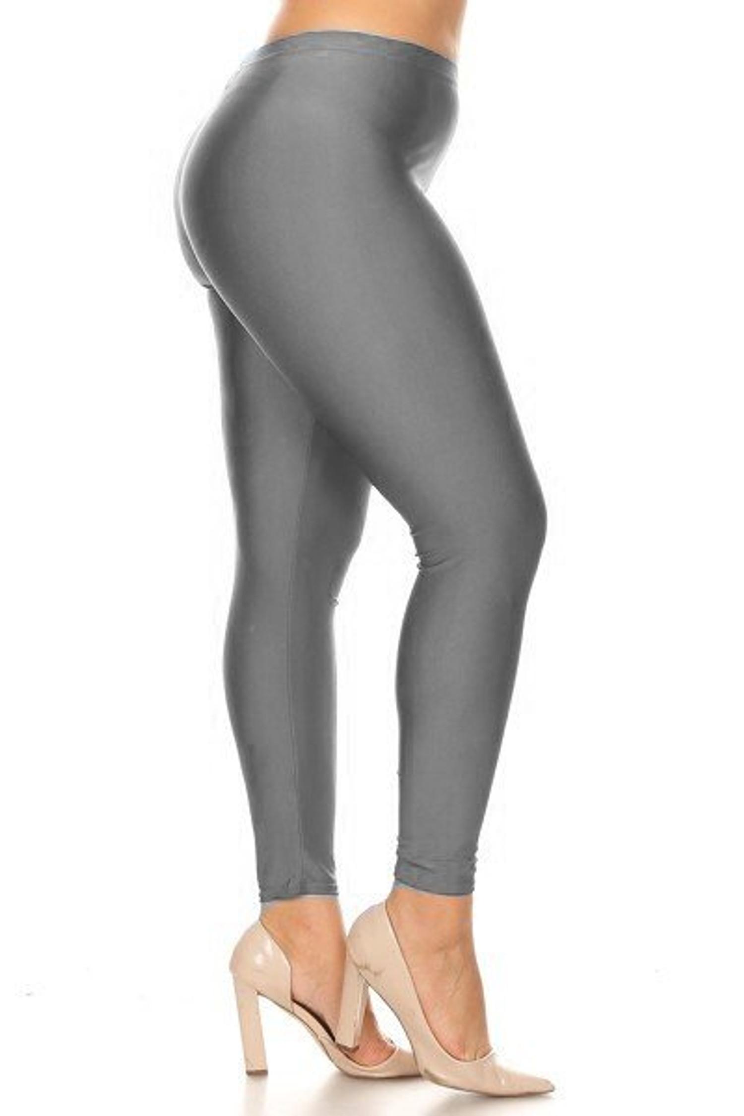 Silver Premium Shiny Stretch Plus Size Leggings