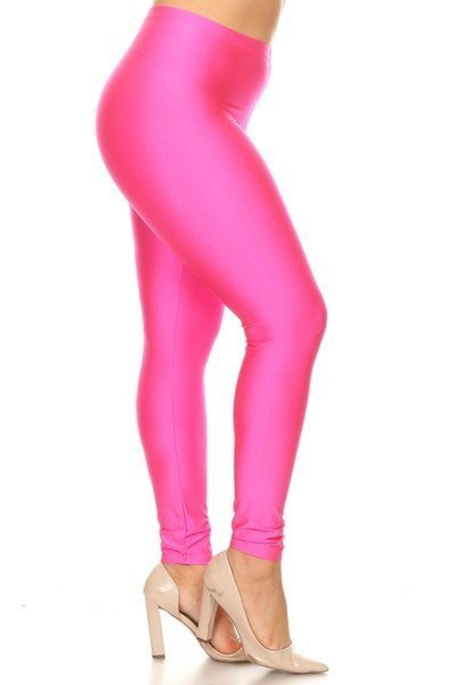 Neon Pink Premium Shiny Stretch Plus Size Leggings