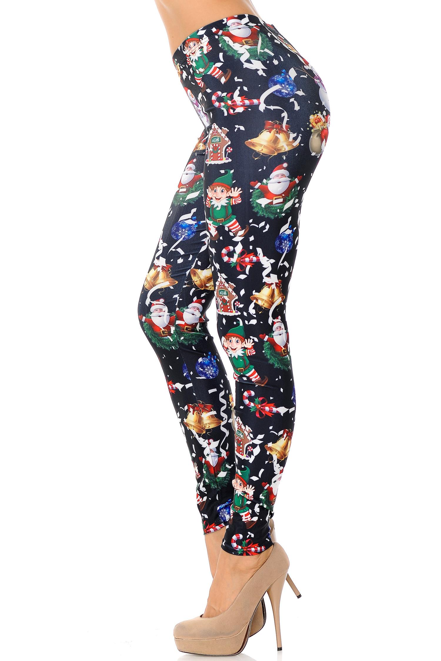 Black Wonderful Festive Christmas Leggings - Plus Size