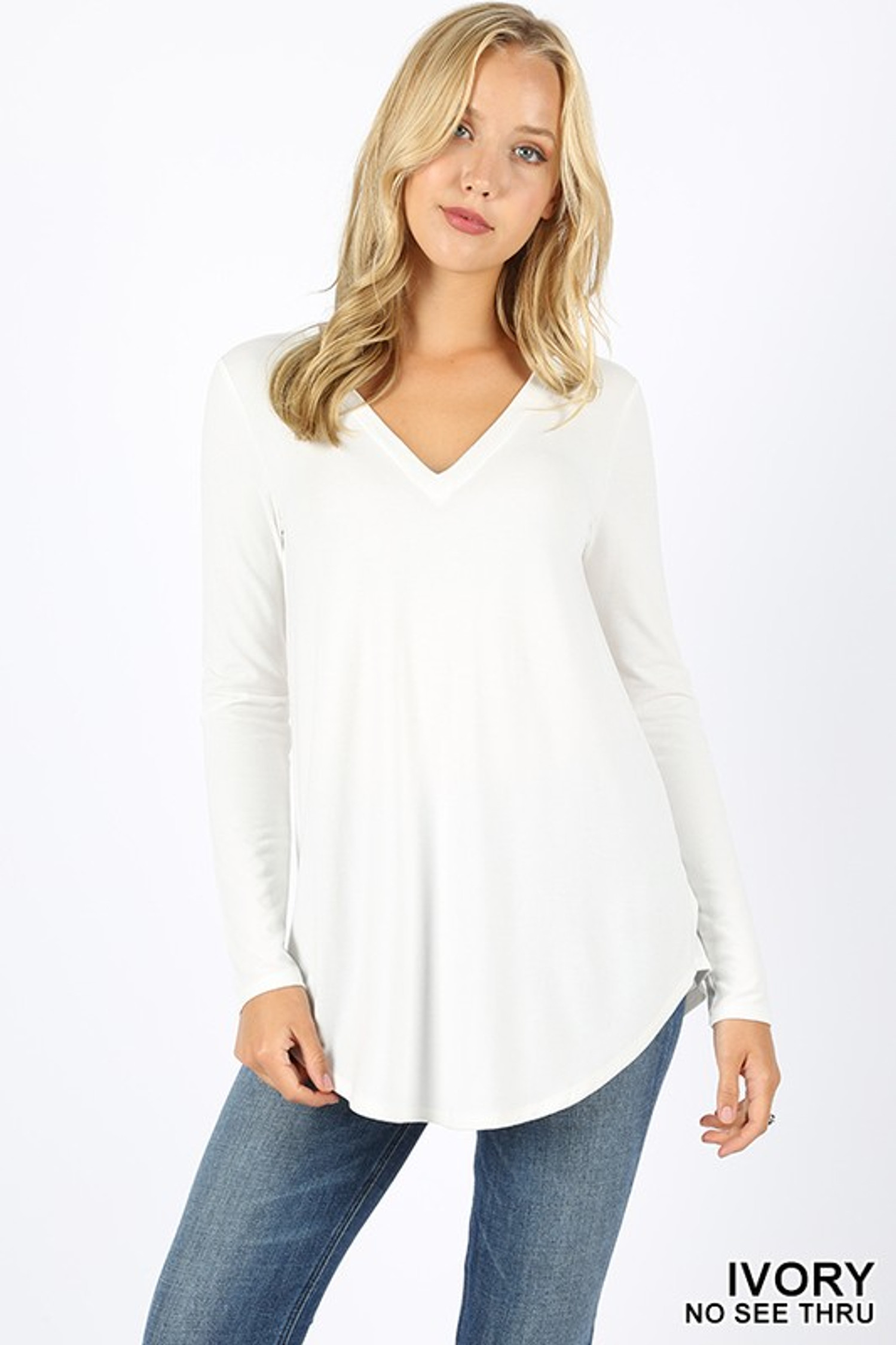 Premium V-Neck Round Hem Long Sleeve Top