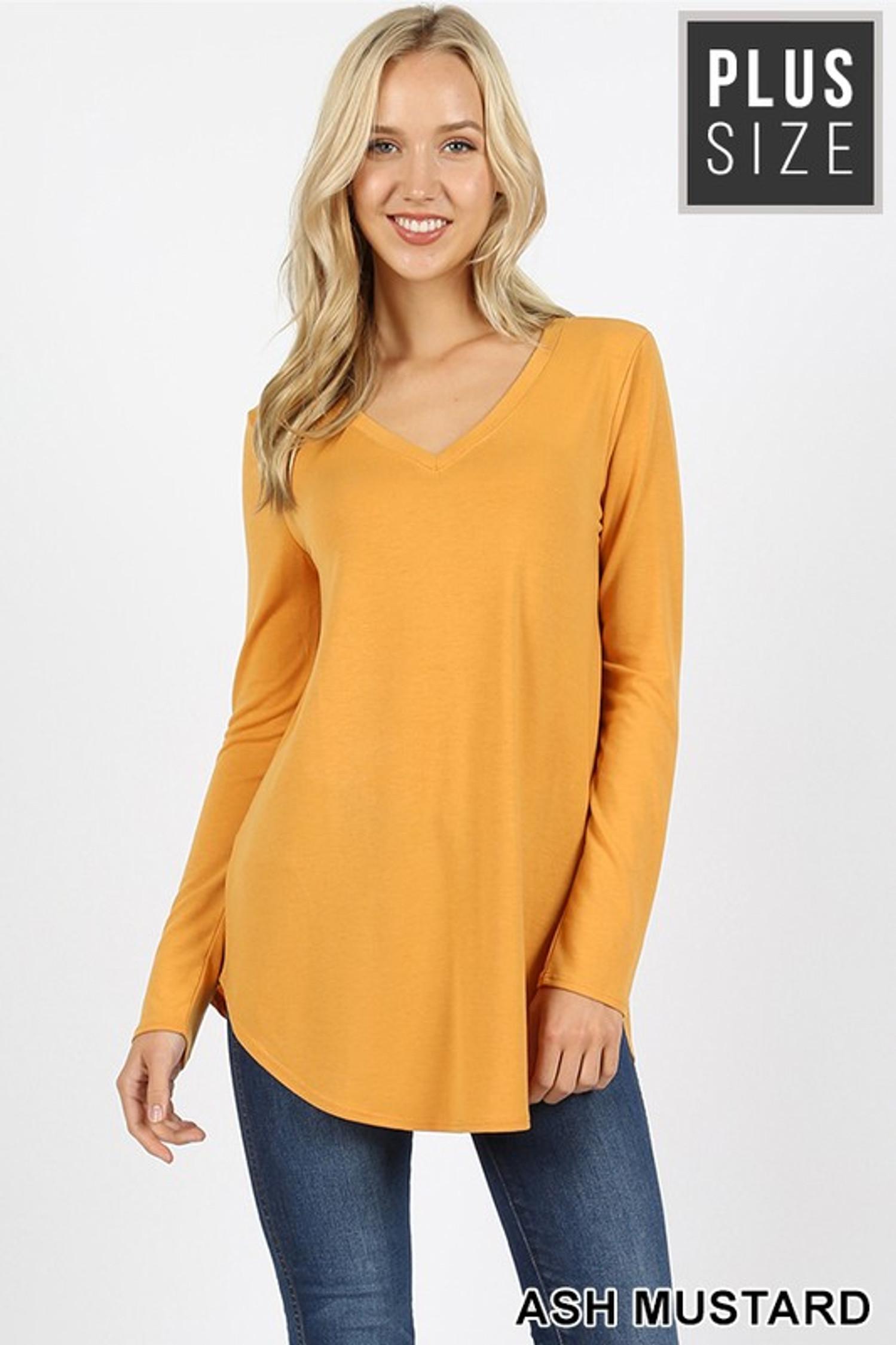 Premium V-Neck Round Hem Long Sleeve Plus Size Top