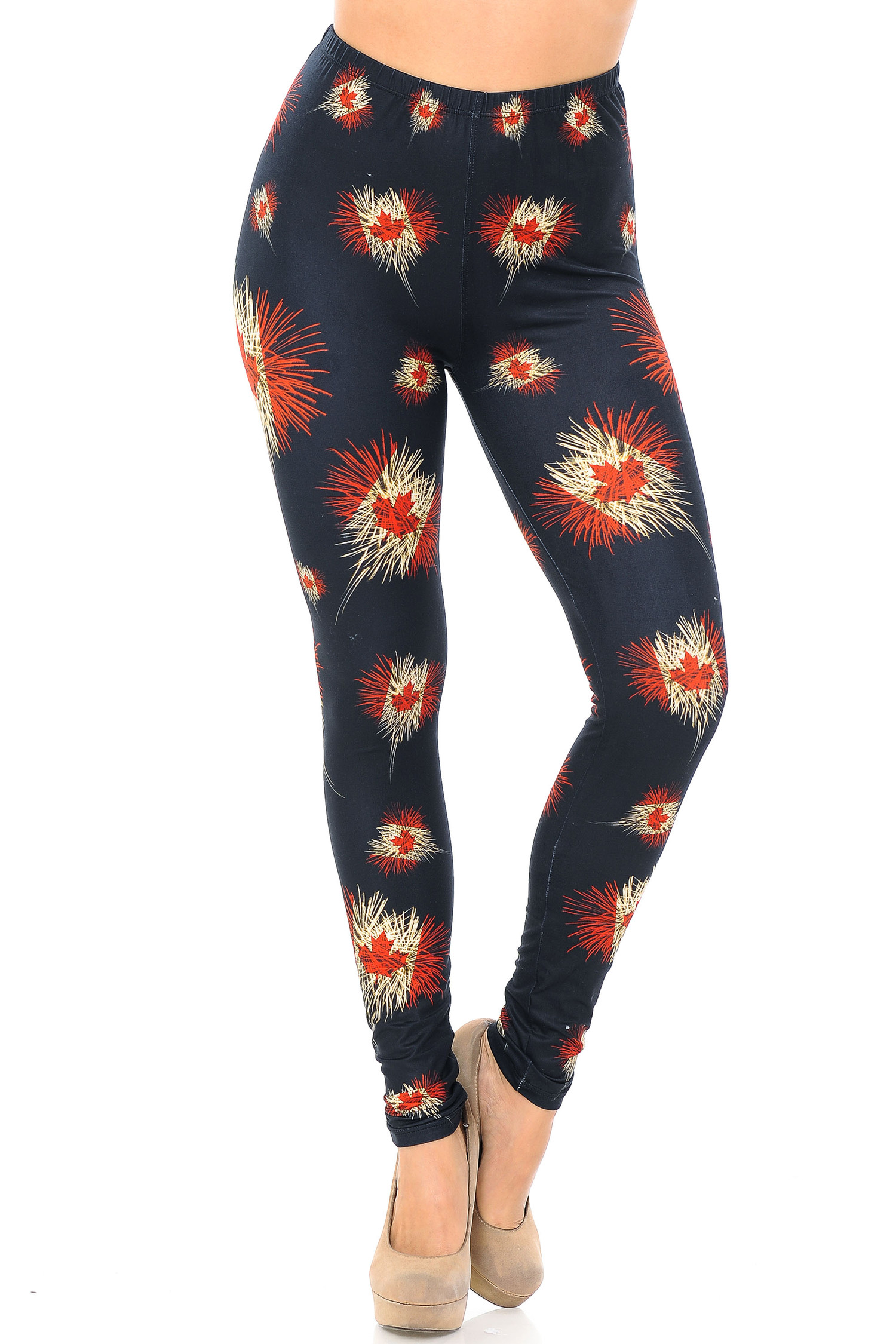 Creamy Soft Canadian Flag Fireworks Extra Plus Size Leggings - 3X-5X - USA Fashion™