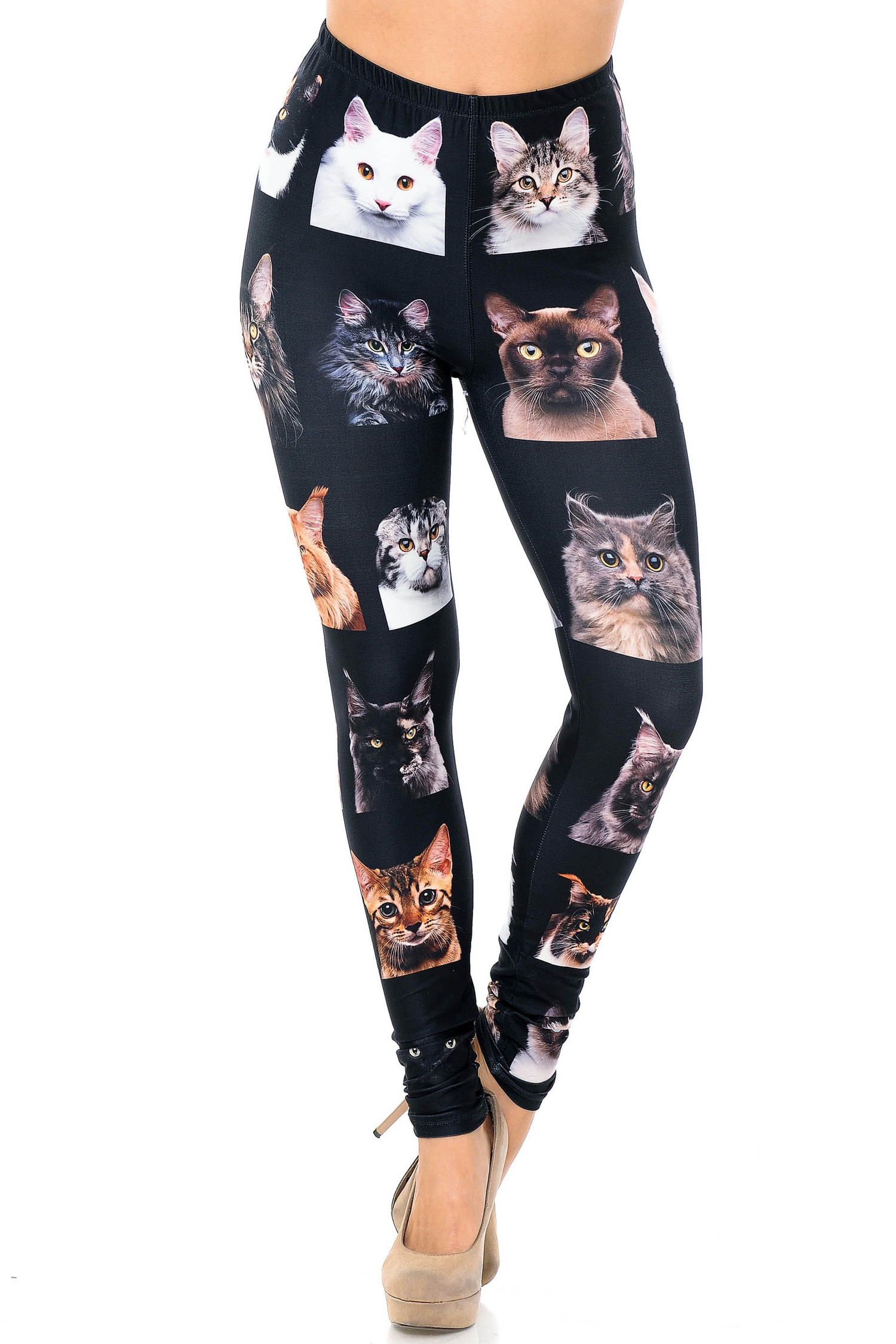 Creamy Soft Cute Kitty Cat Faces Leggings - USA Fashion™