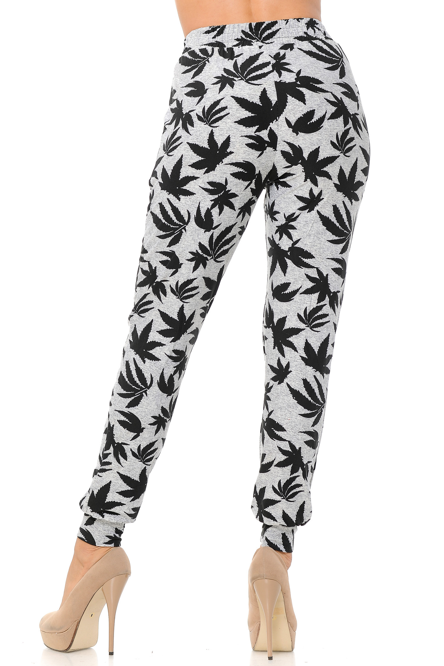 Brushed Solid Heather Grey Marijuana Joggers