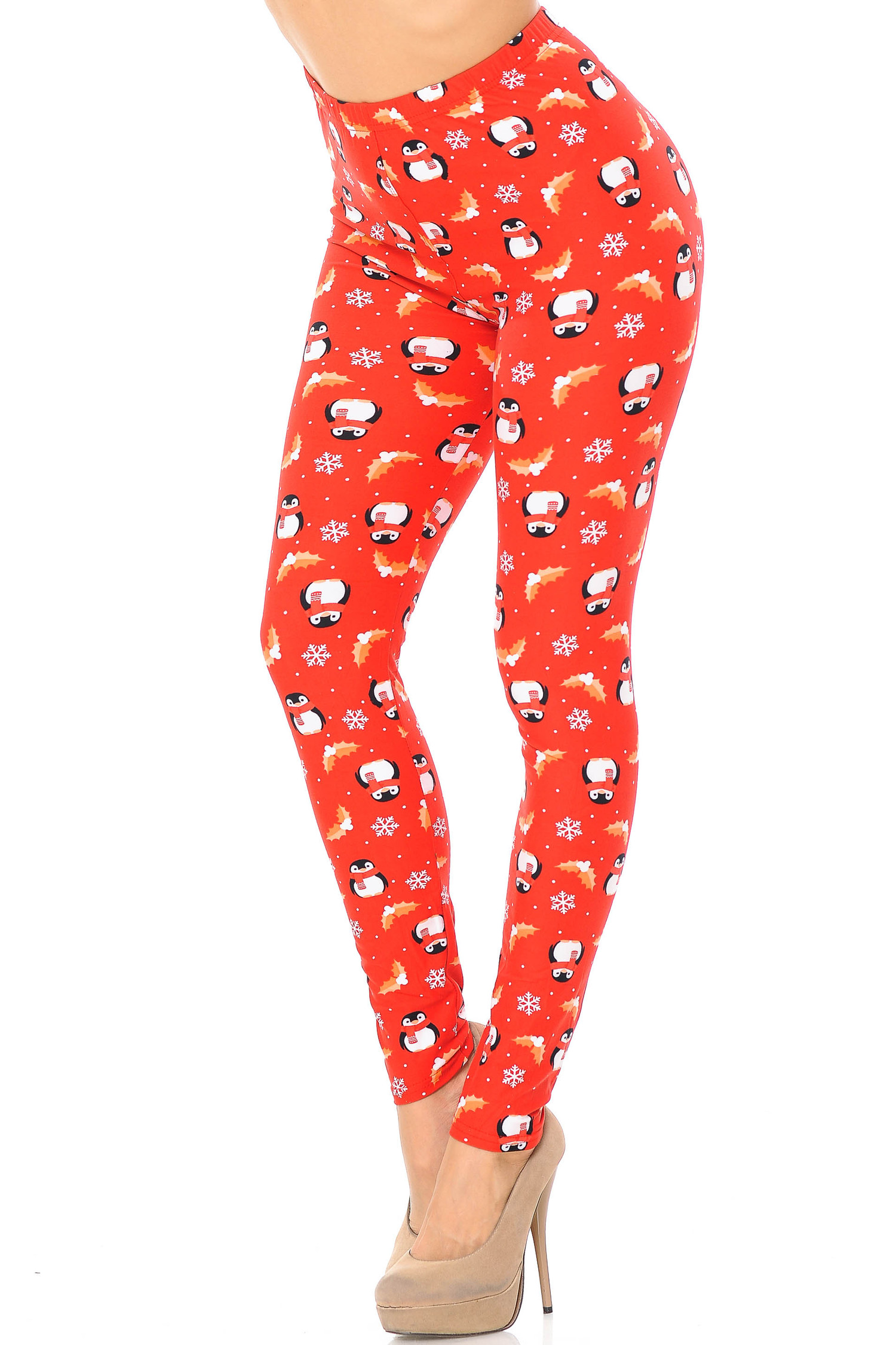Brushed Ruby Red Penguins Mistletoe and Snowflake Extra Plus Size Leggings - 3X-5X