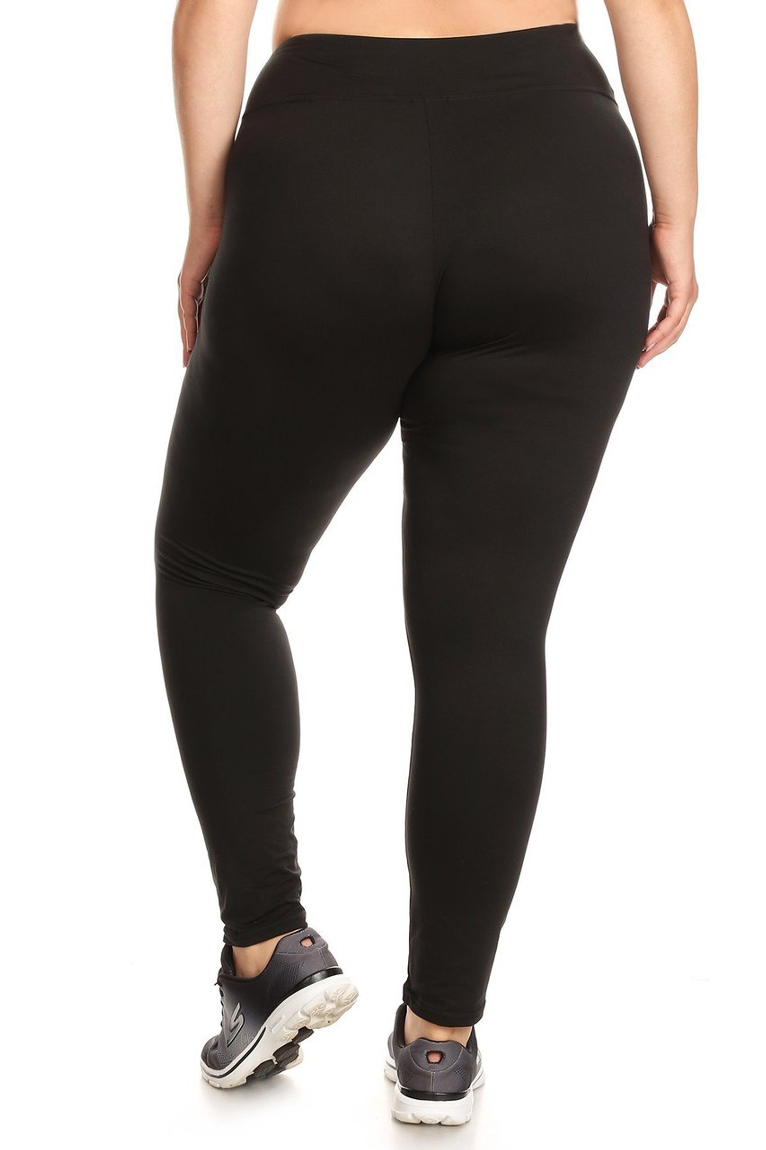 Brushed  back image of X7L105 - High Waisted Fleece Lined Sport Plus Size Leggings