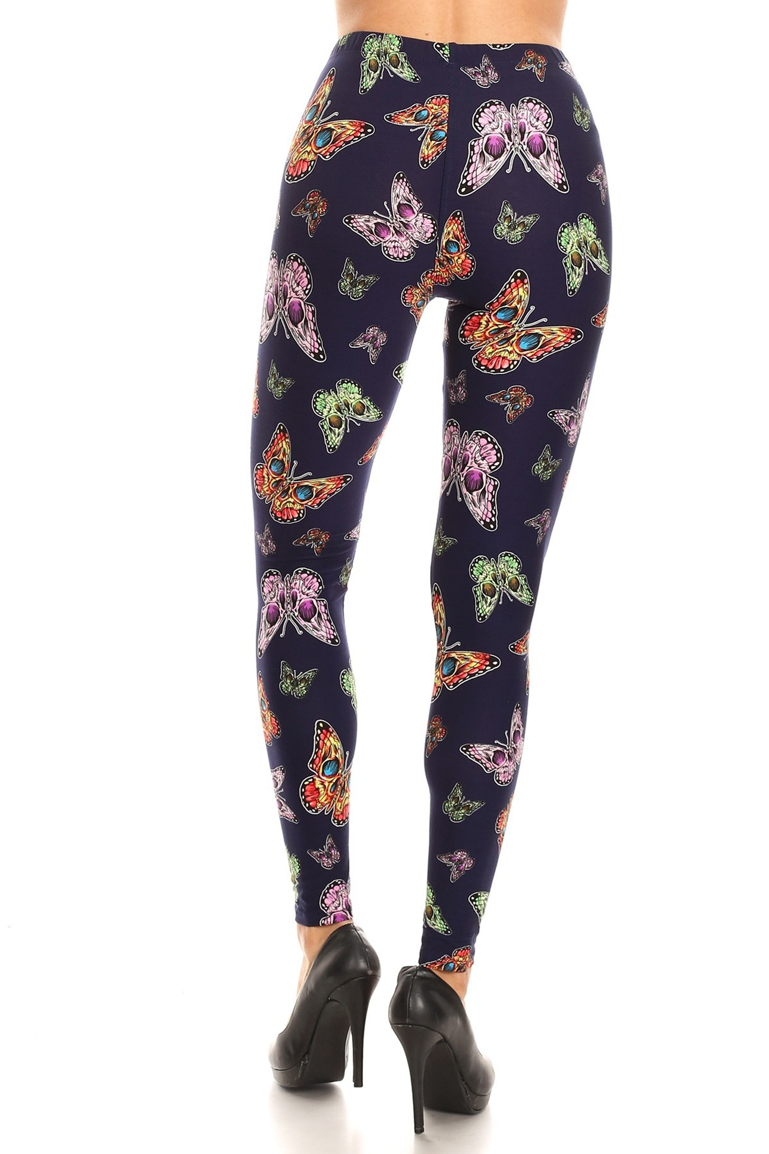 Brushed Blue Moon Colorful Butterfly Extra Plus Size Leggings - 3X-5X