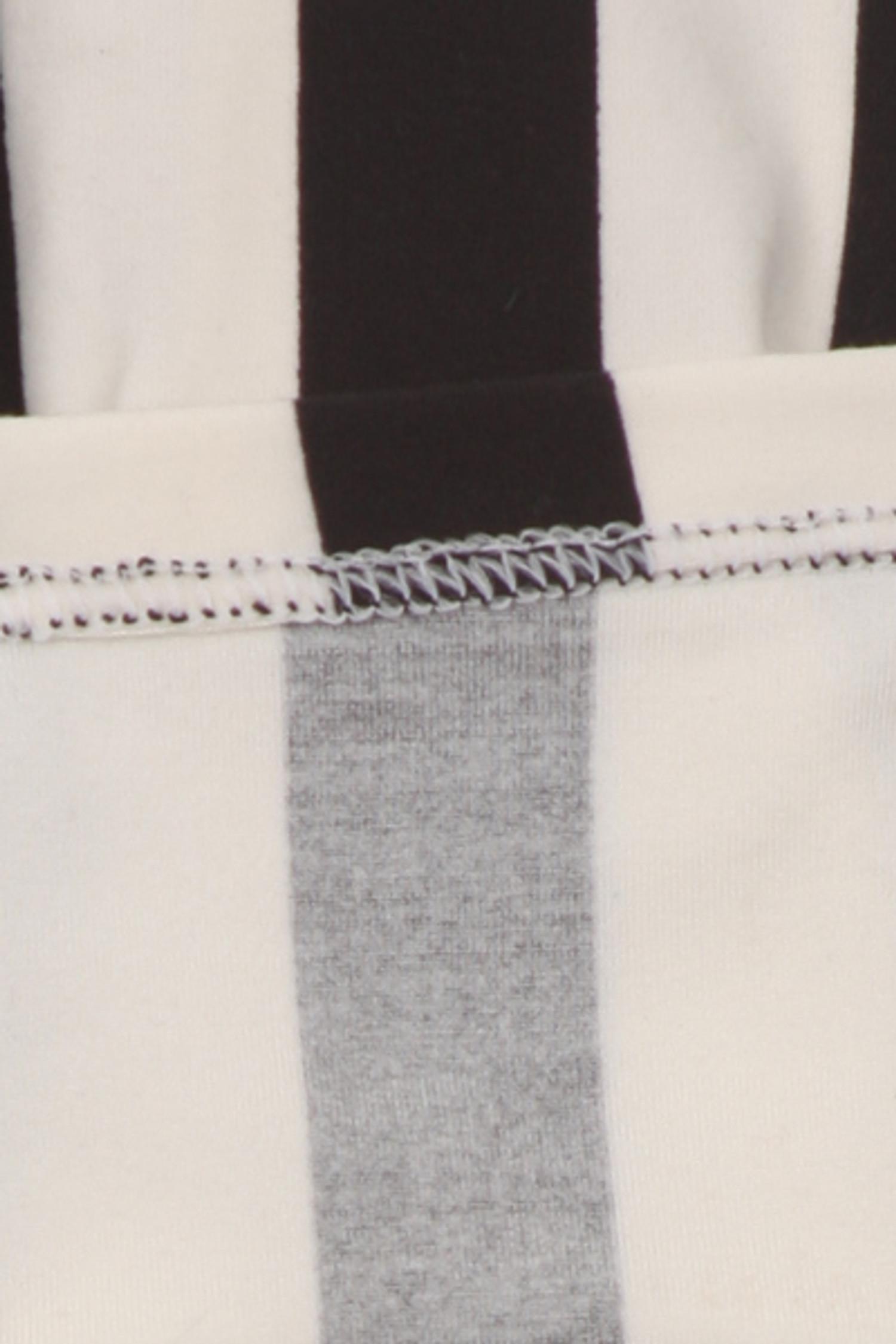 Brushed Vertical Black and White Striped Kids Leggings