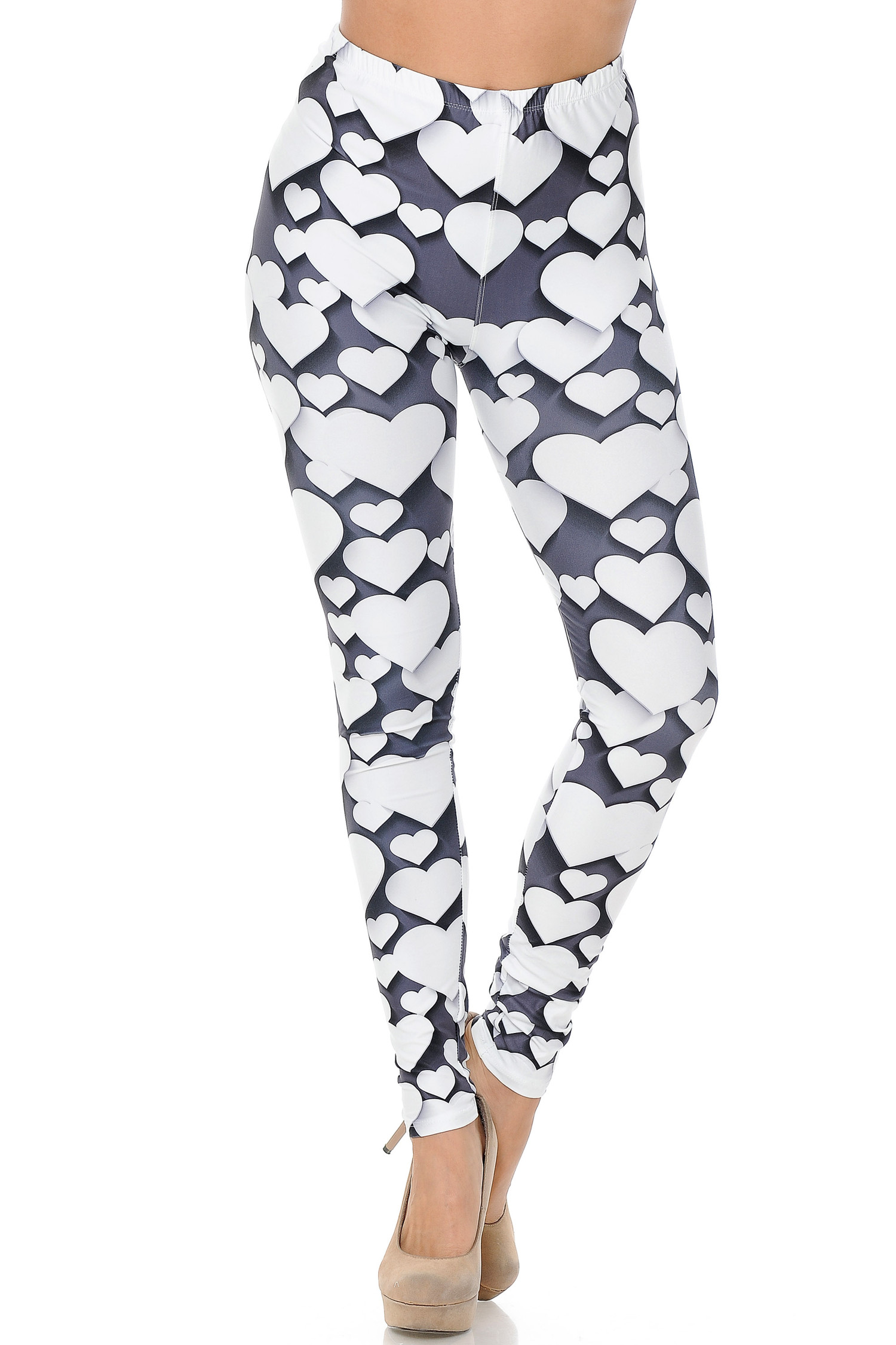 Creamy Soft 3D Hearts Leggings