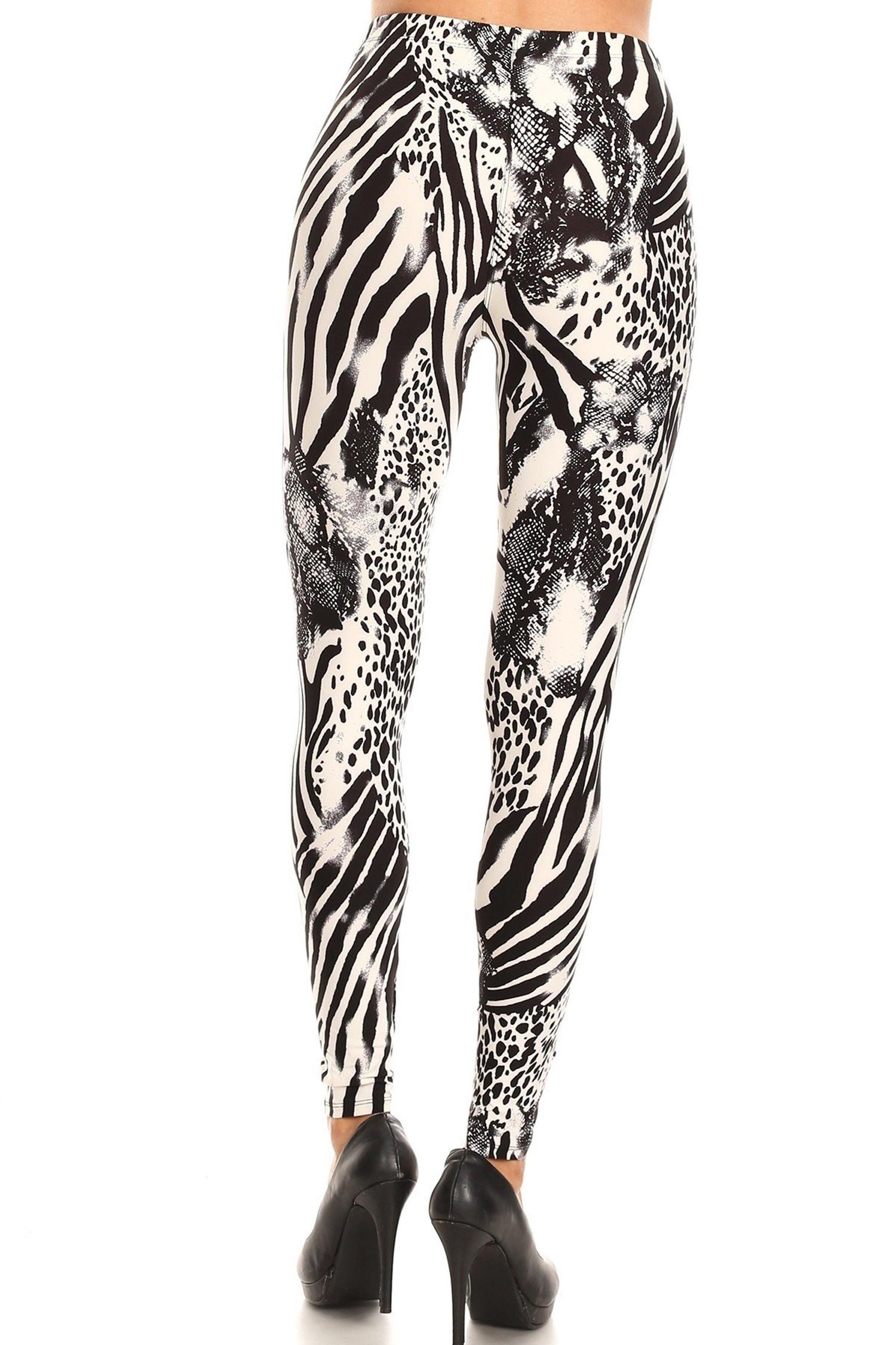 Brushed  Wild Safari Extra Plus Size Leggings - 3X-5X