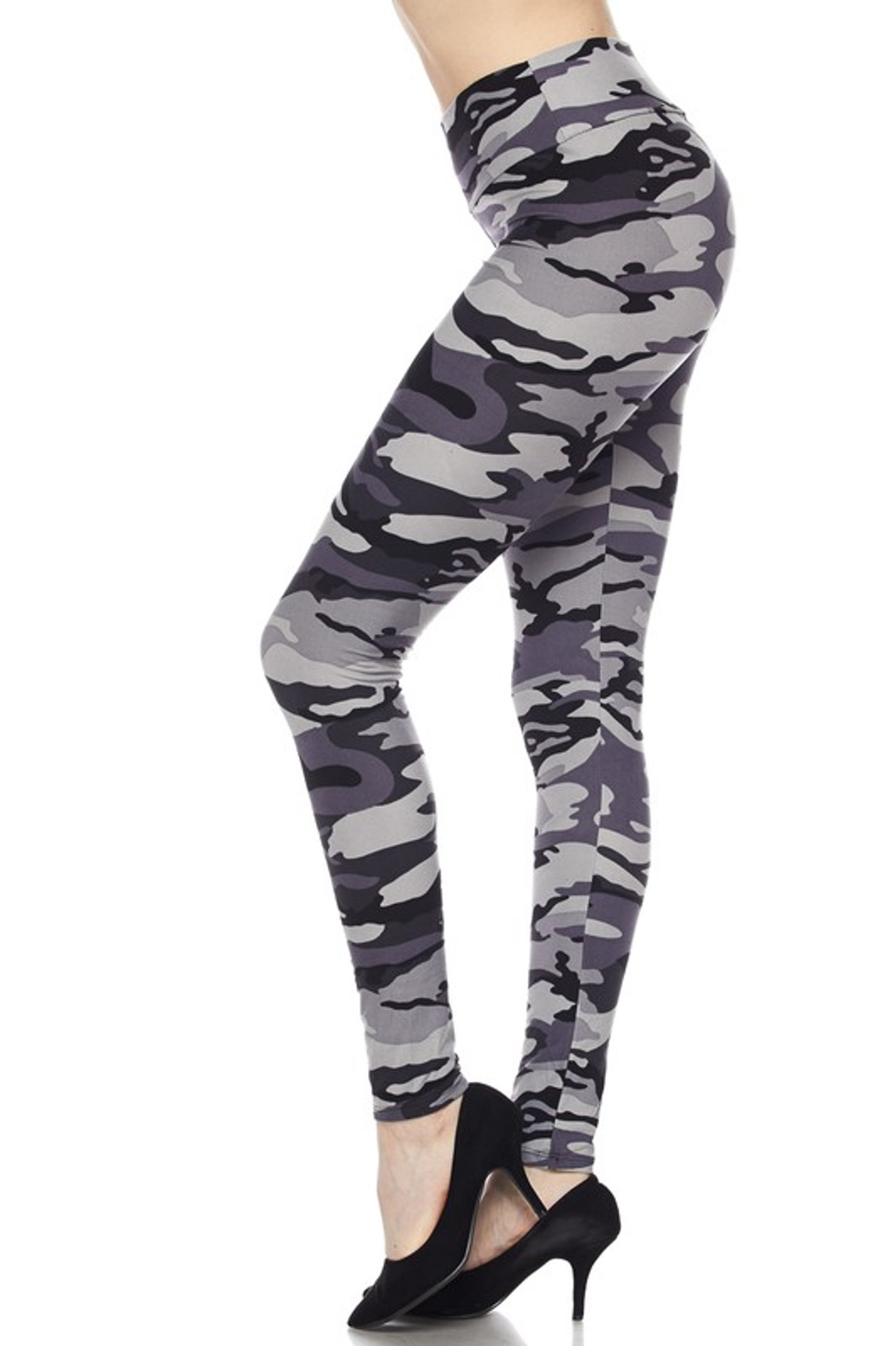 Brushed Charcoal Camouflage High Waist LeggingsBrushed High Waisted Charcoal Camouflage Leggings