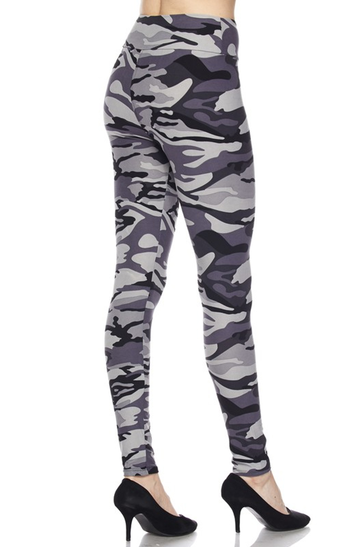 Brushed  Charcoal Camouflage High Waist Leggings