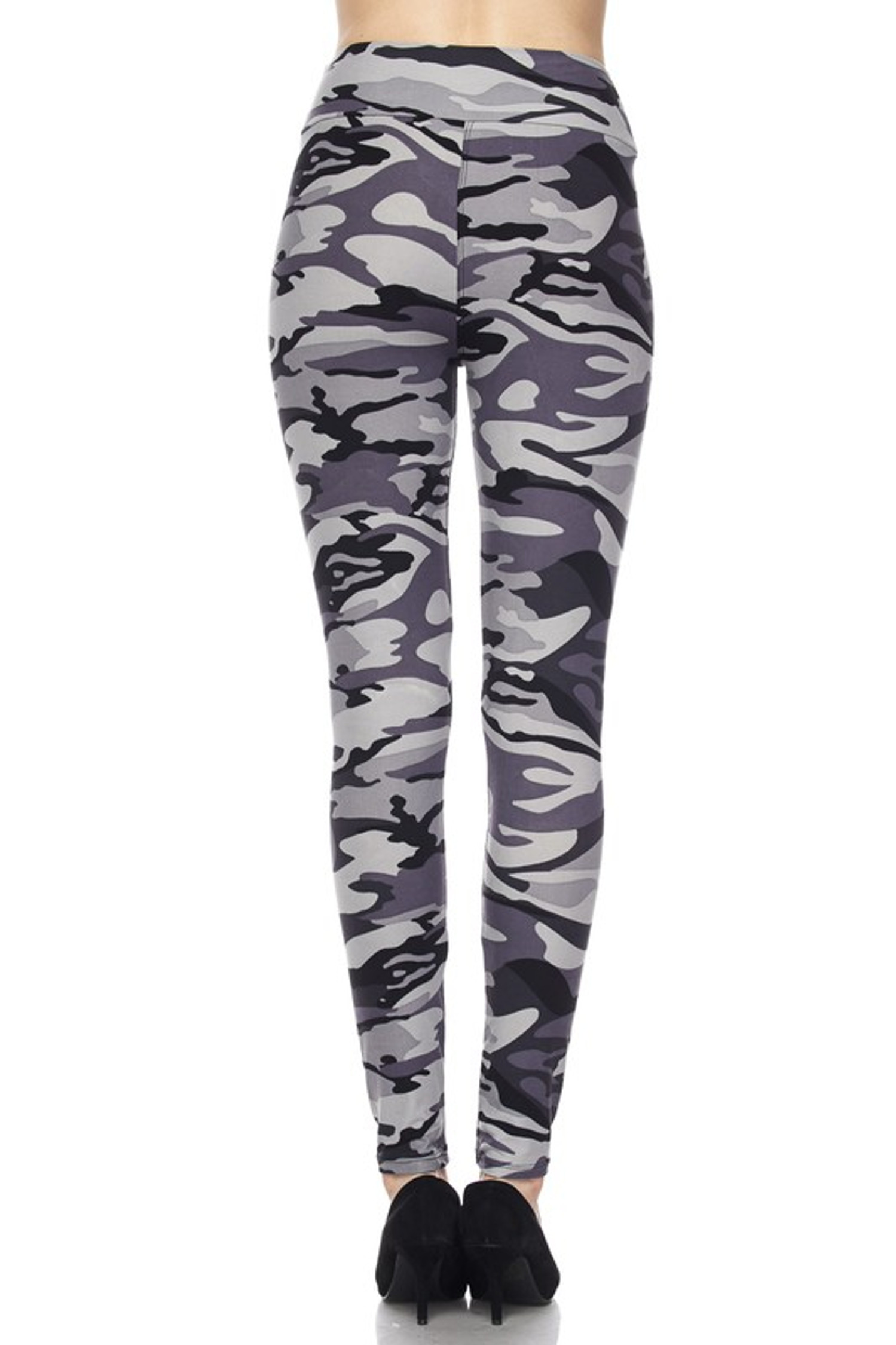 Brushed  Charcoal Camouflage High Waist Plus Size Leggings