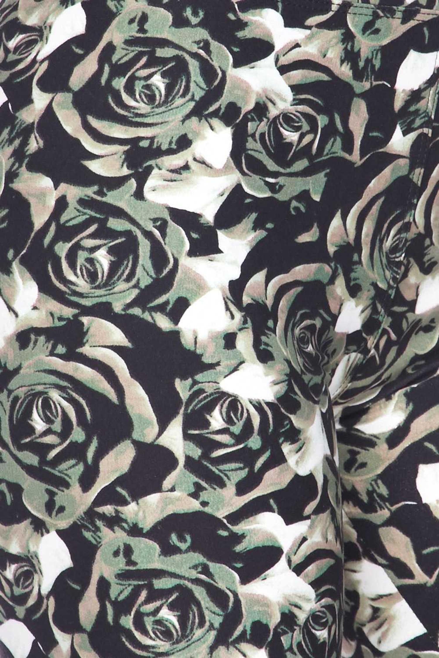 Brushed  Olive Rose Capris - 3 Inch