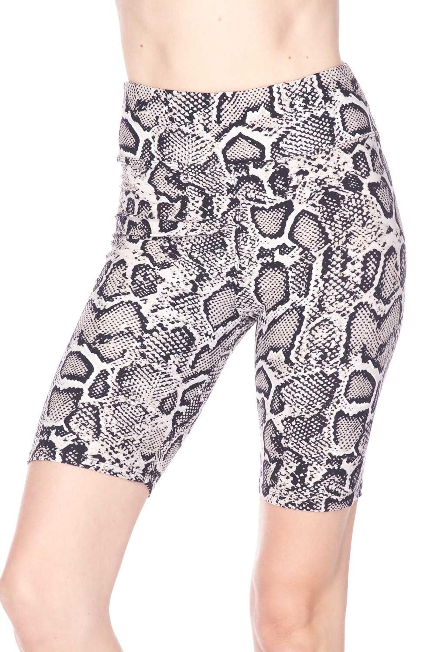 Brushed  Beige Boa Snakeskin Shorts