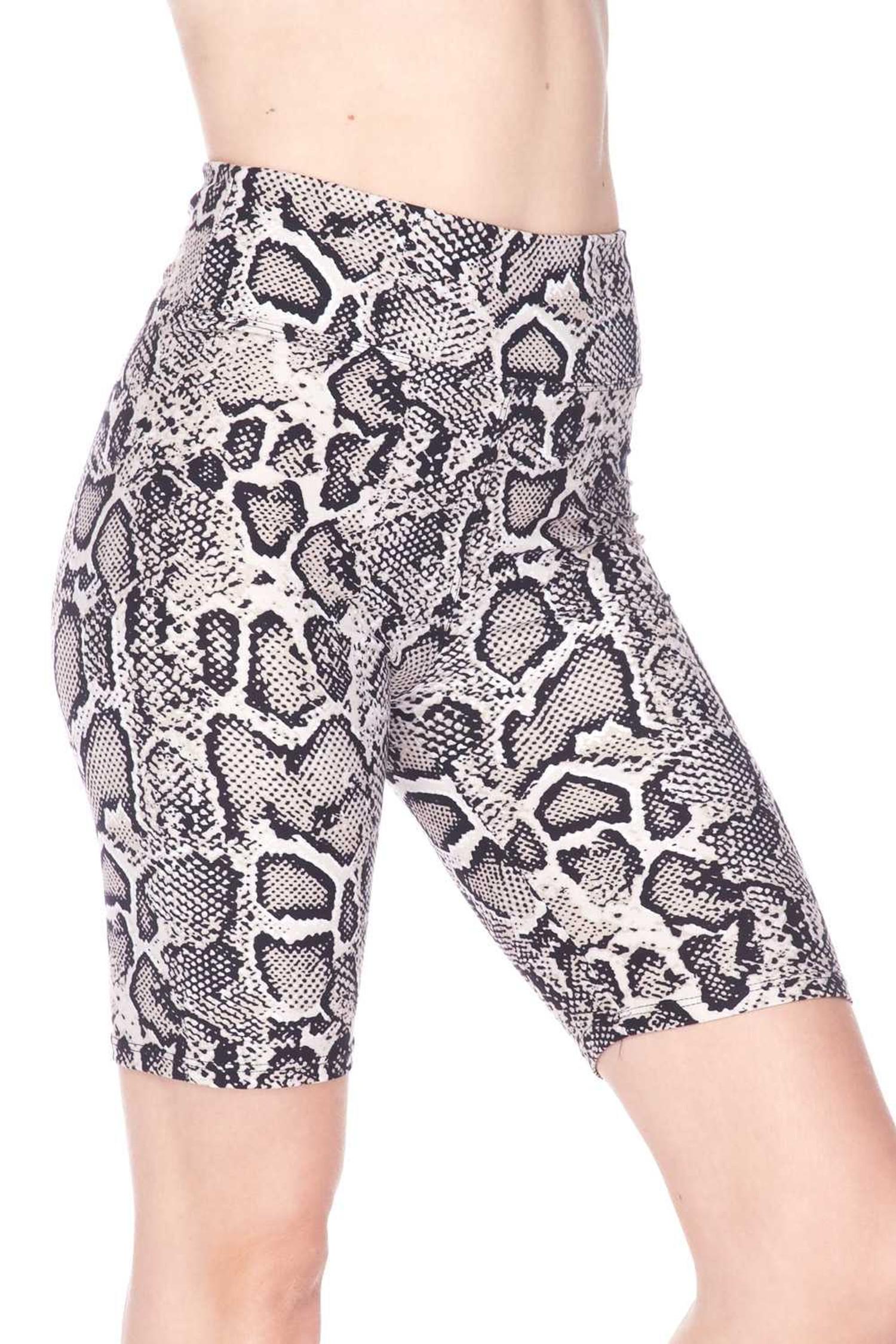 Brushed Beige Boa Snakeskin Plus Size Shorts