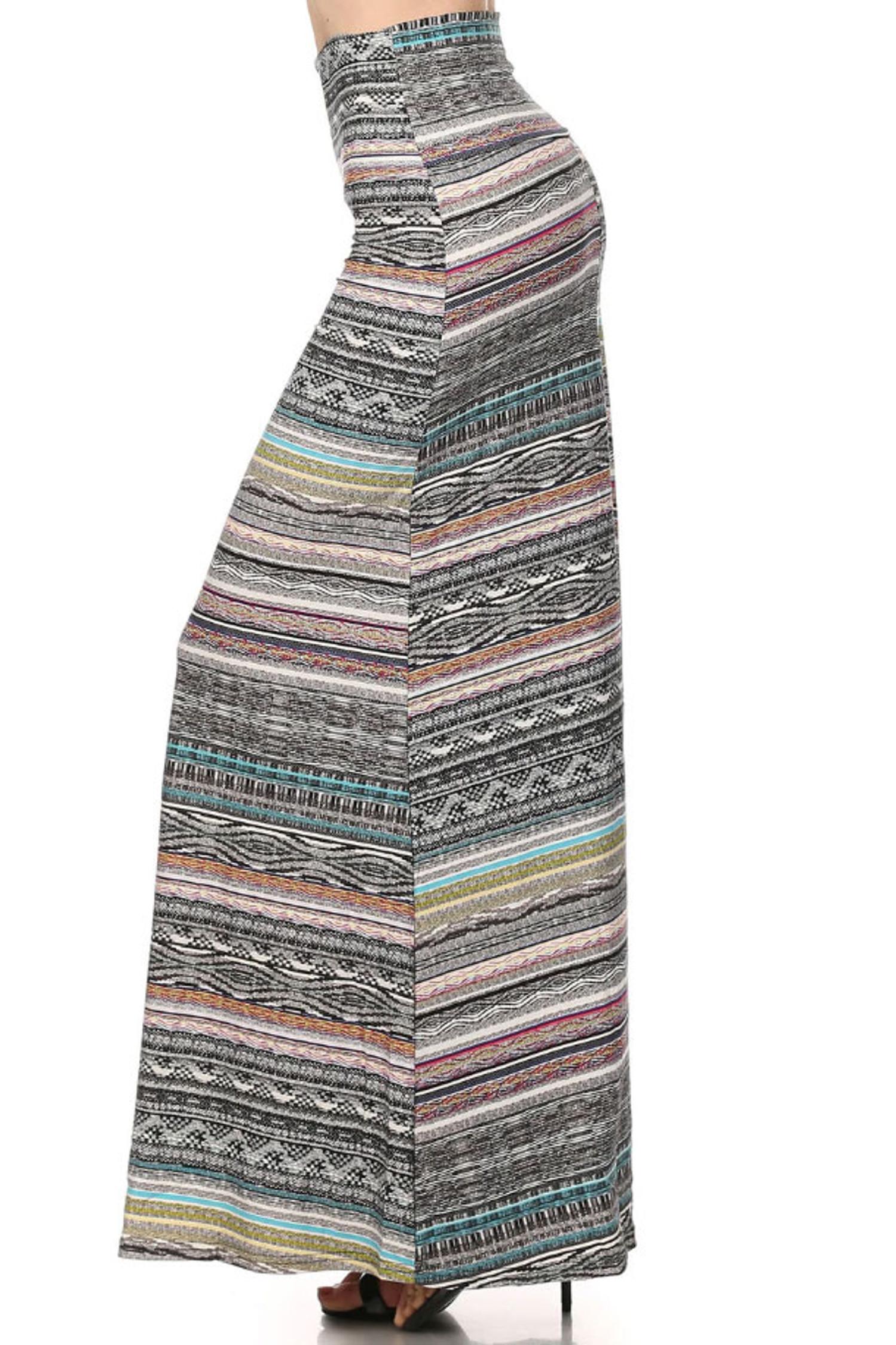 Brushed Tribal Cascade Maxi Skirt