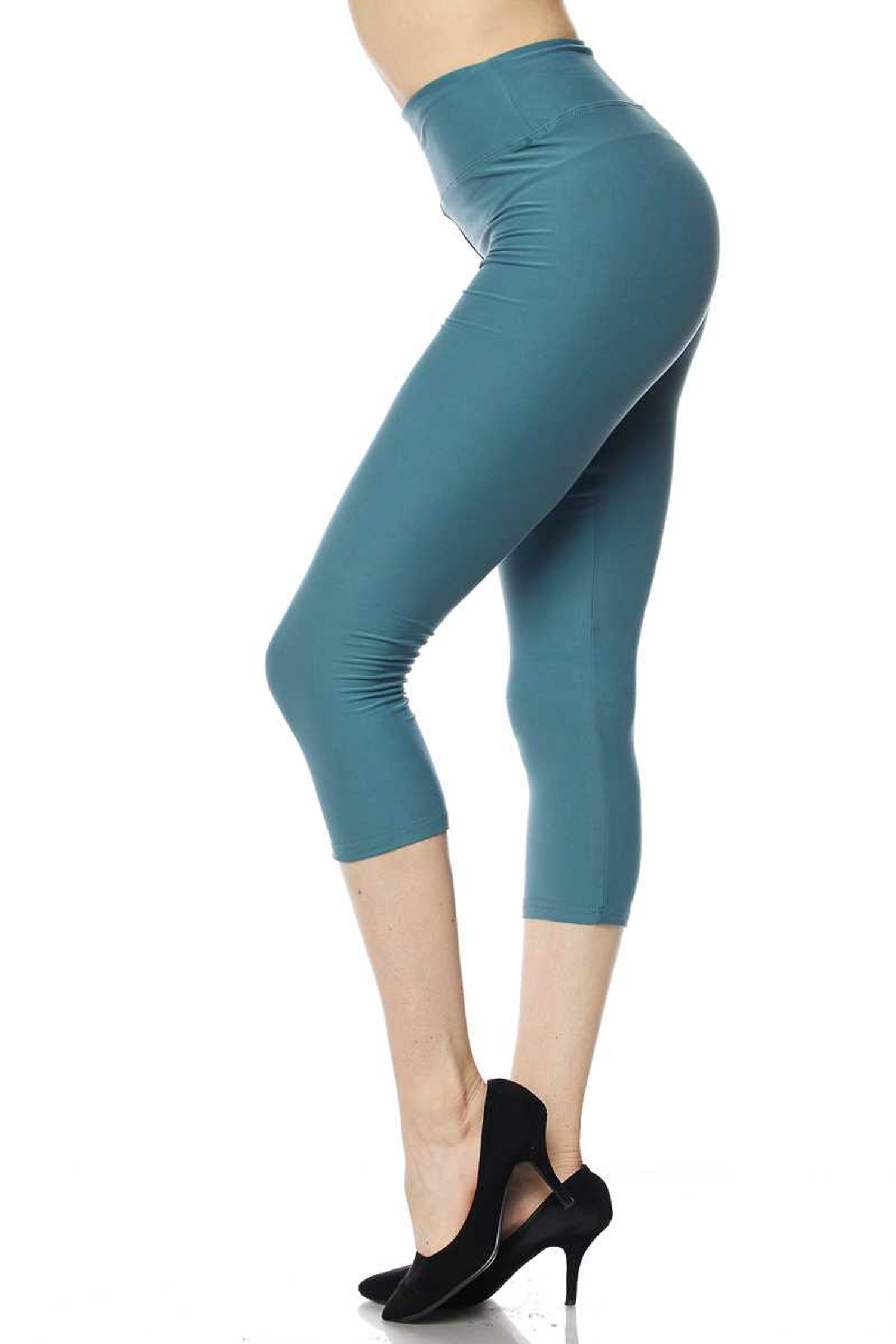 Brushed  High Waisted Plus Size Basic Solid Capris - 3 Inch Band