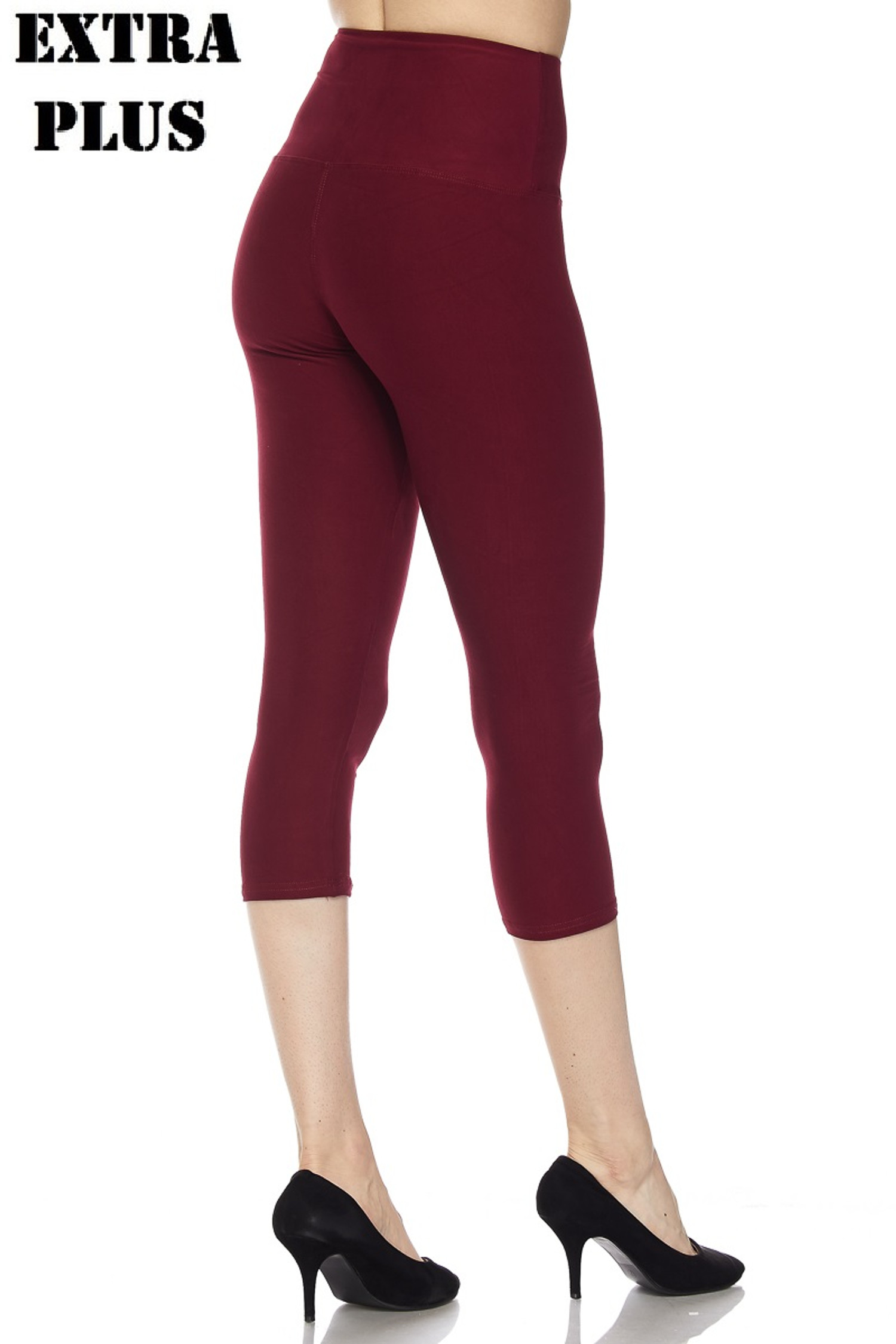 Brushed  High Waisted Plus Size Basic Solid Capris - 5 Inch - 3X-5X