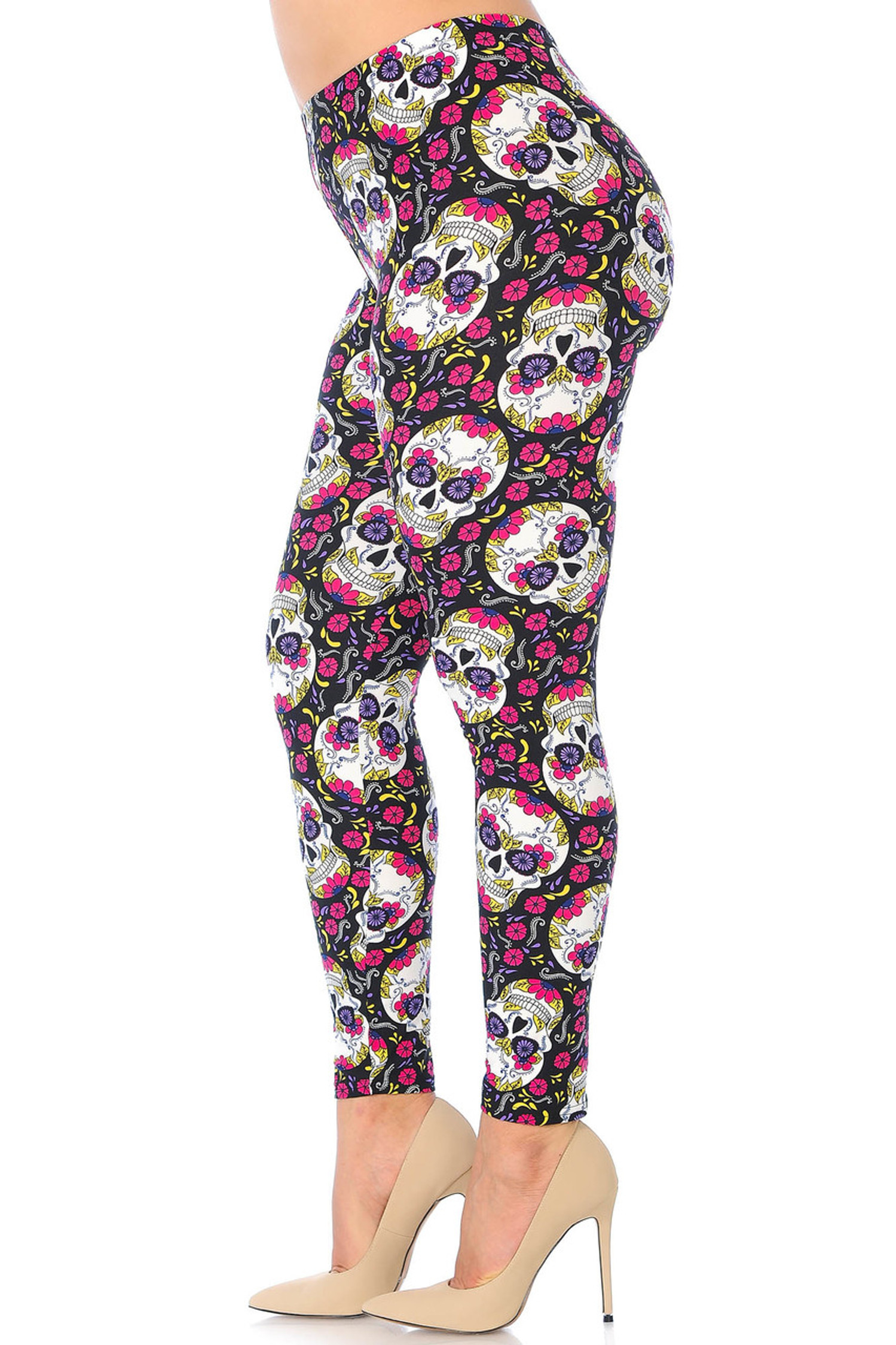 Brushed  Floral Petal Sugar Skull Plus Size Leggings