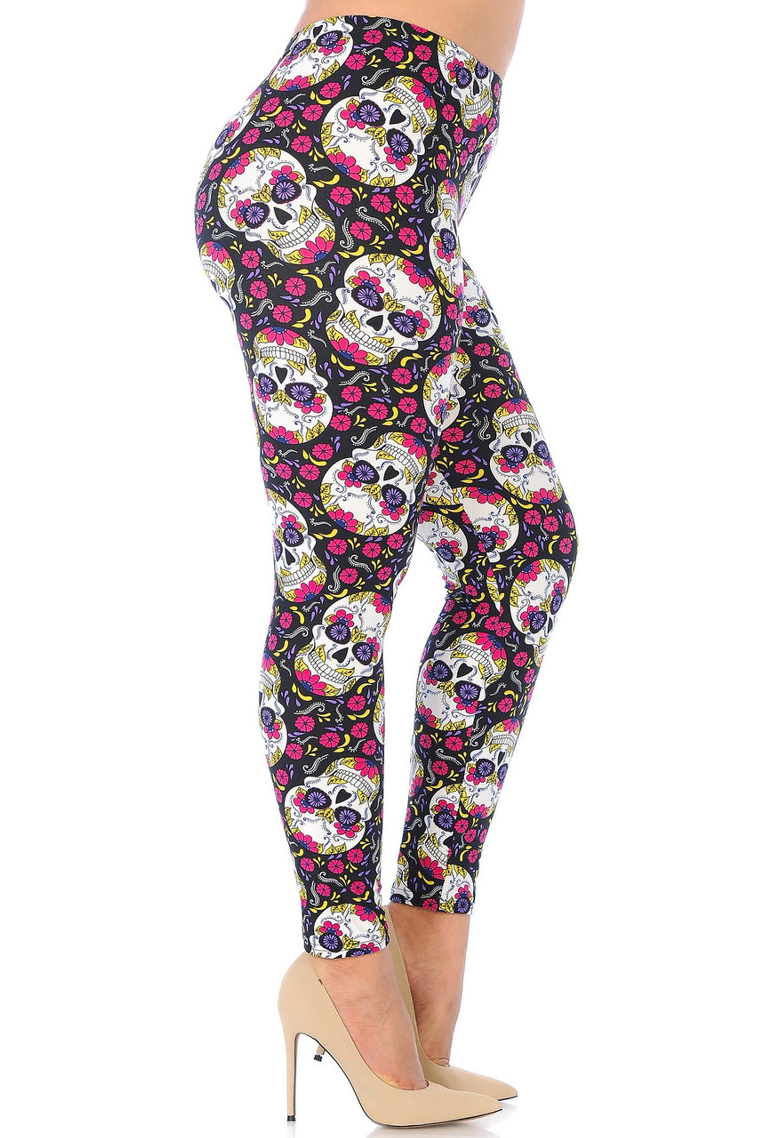Brushed  Floral Petal Sugar Skull Extra Plus Size Leggings - 3X-5X