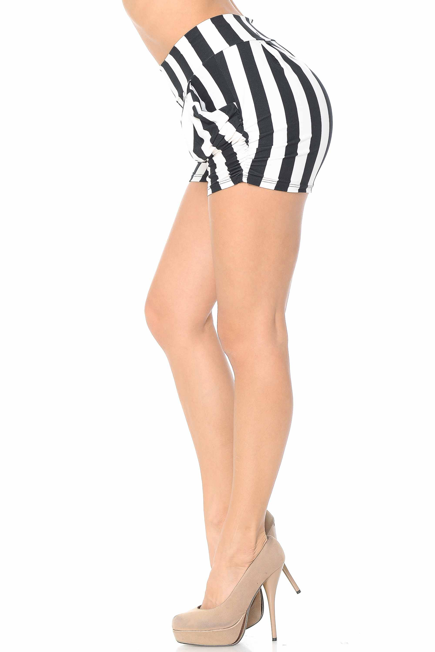 Brushed  Wide Stripe Plus Size Harem Shorts