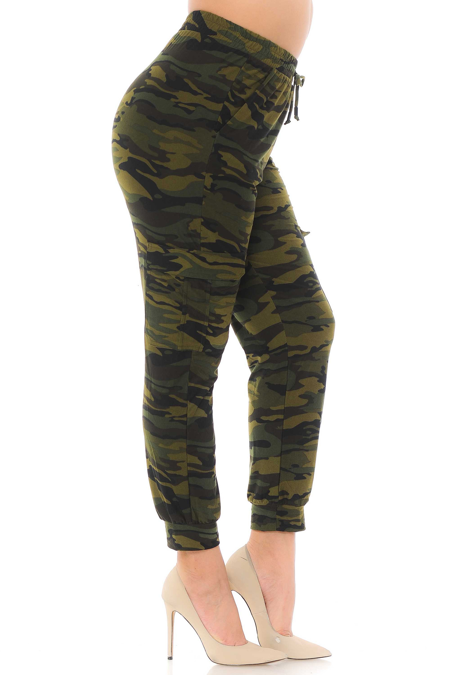 Brushed  Green Camouflage Cargo Plus Size Joggers - New Mix