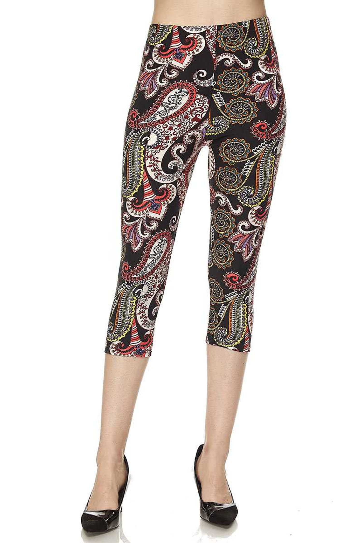 Brushed  Raspberry Paisley Capris