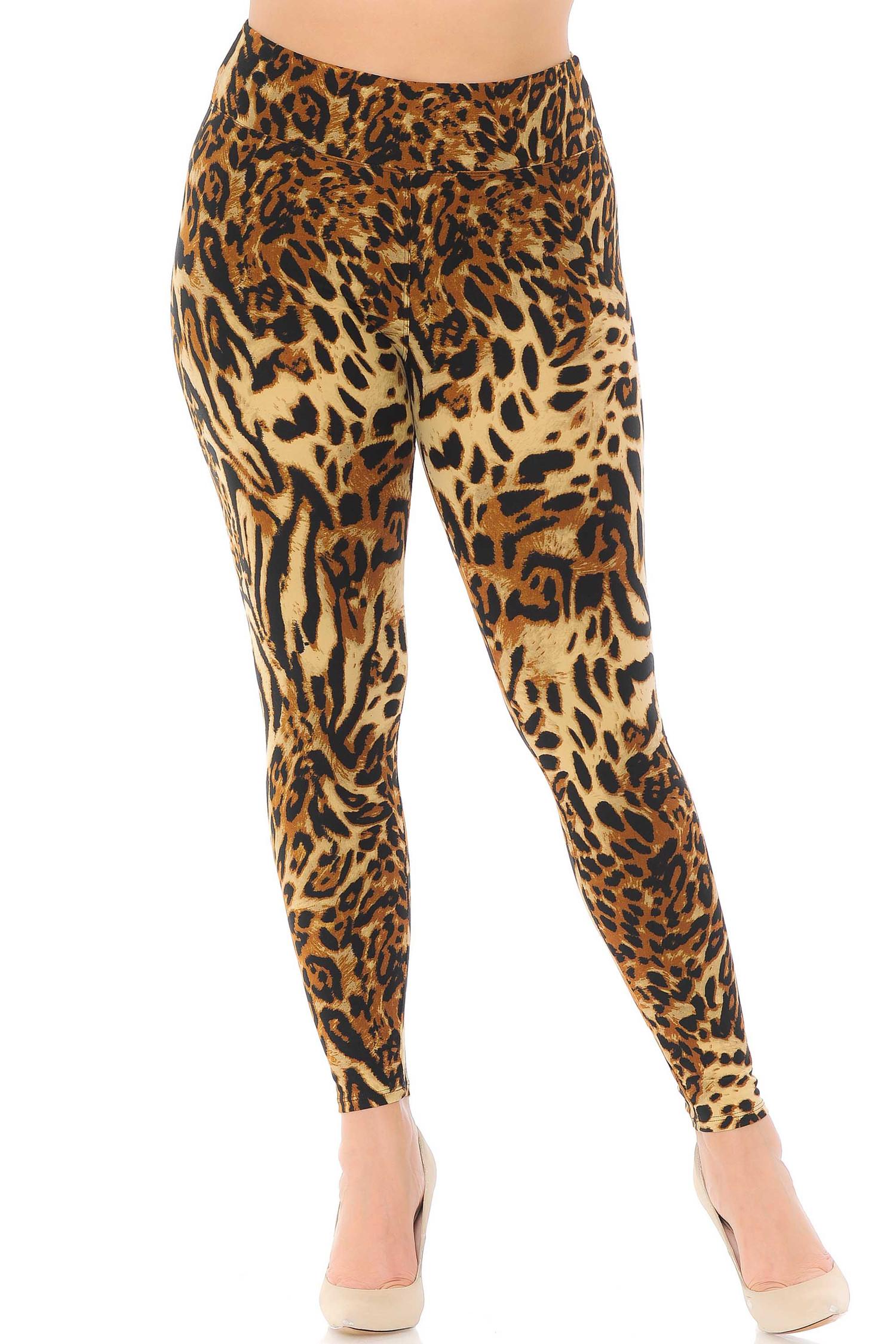 Brushed  Predator Leopard High Waisted Plus Size Leggings