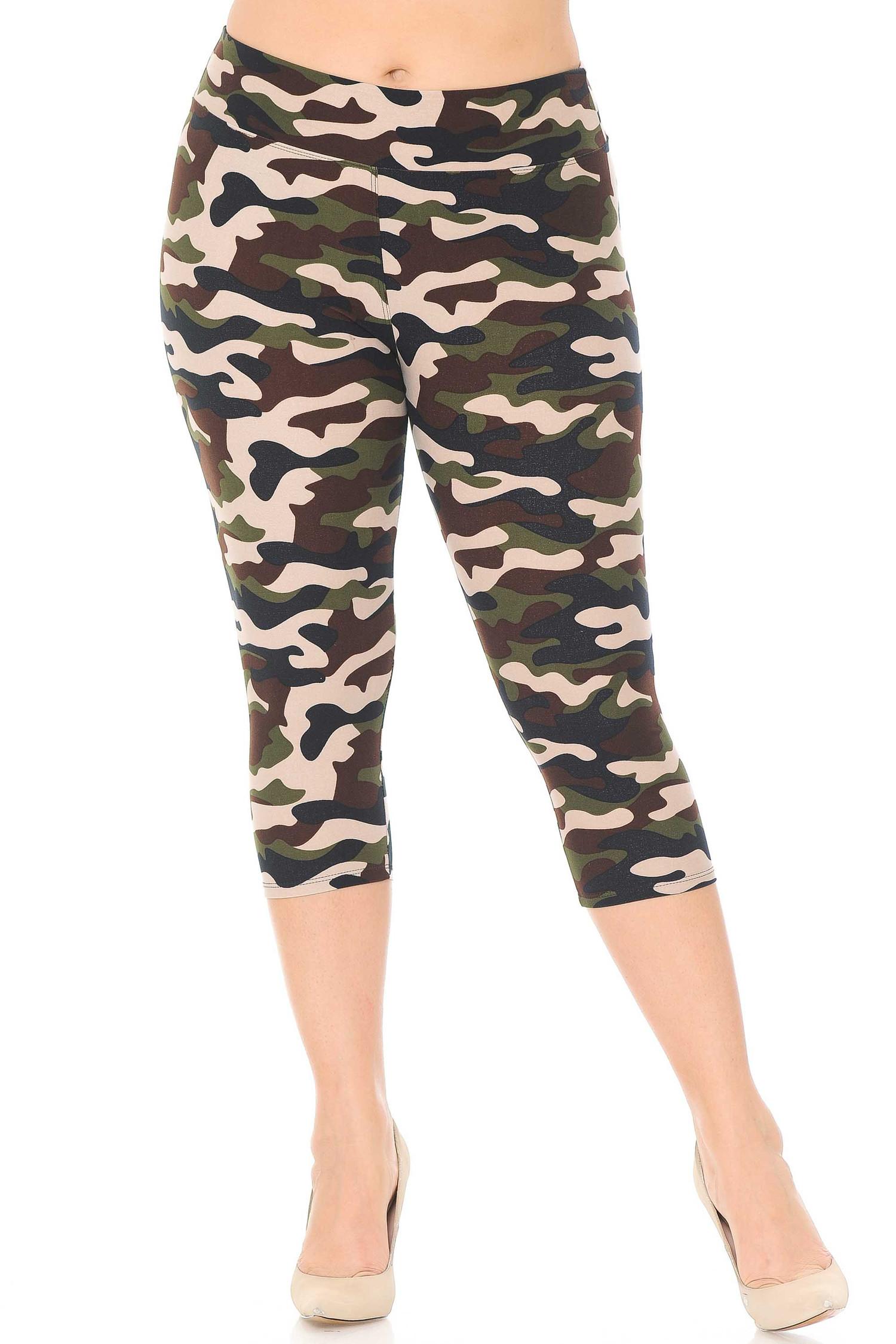 Brushed  Flirty Camouflage High Waist Plus Size Capris - 3  Inch