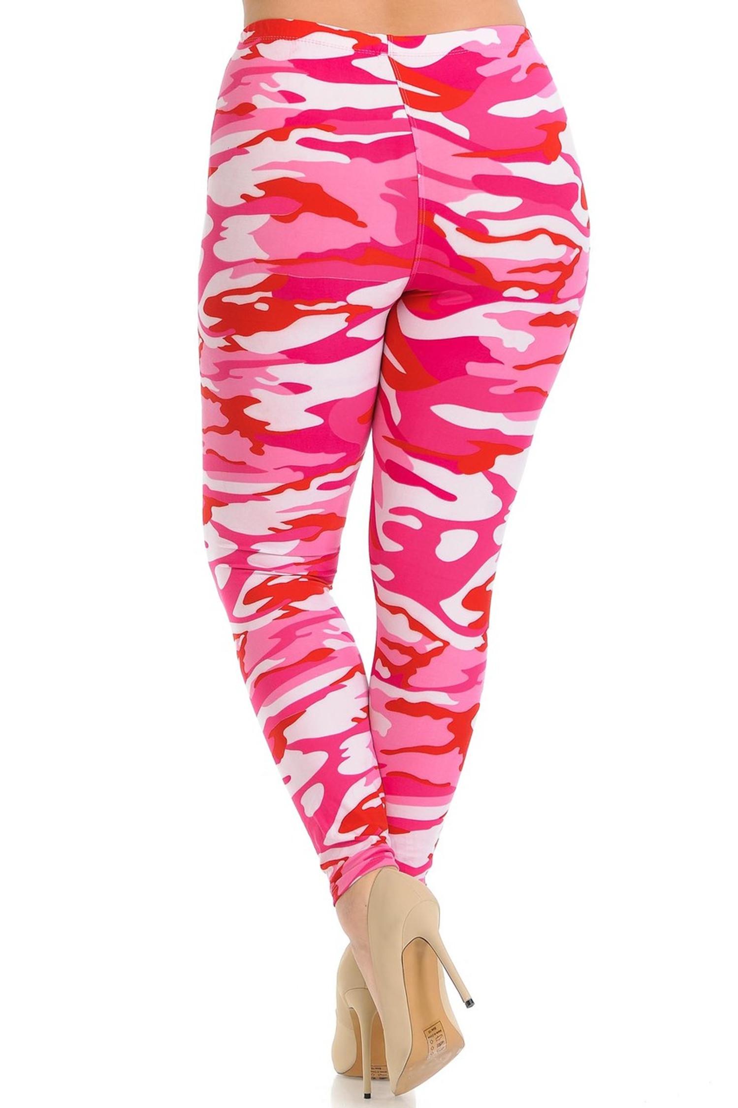 Brushed  Pink Camouflage Extra Plus Size Leggings - 3X-5X