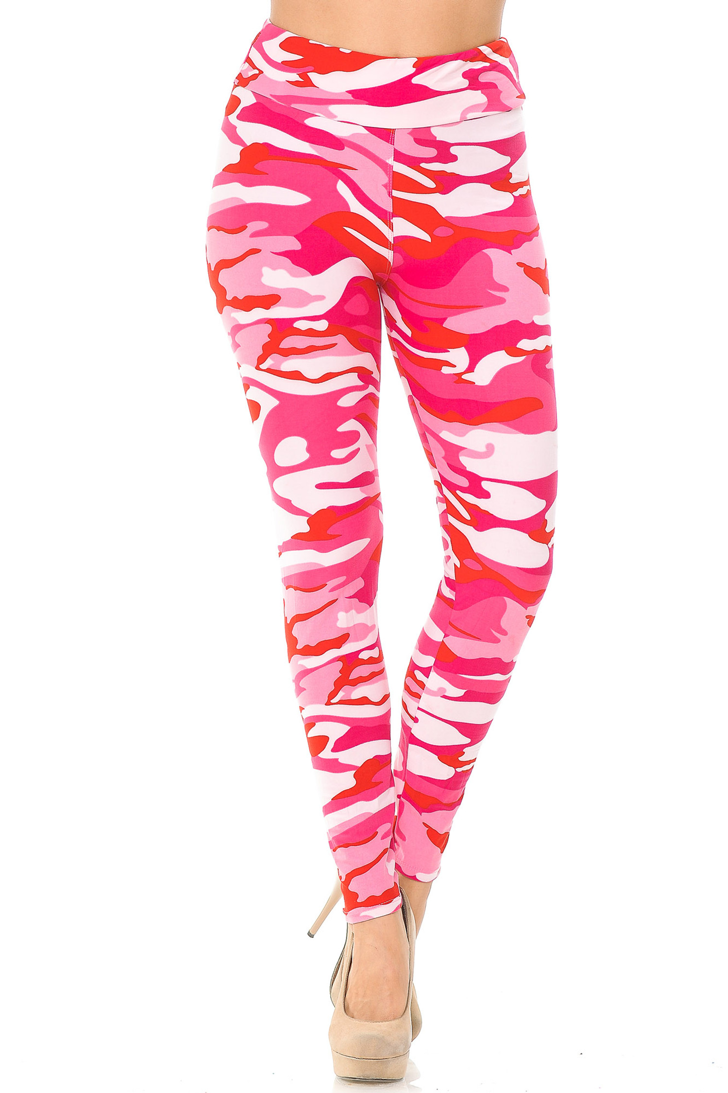 Brushed  Pink Camouflage High Waisted Leggings - EEVEE