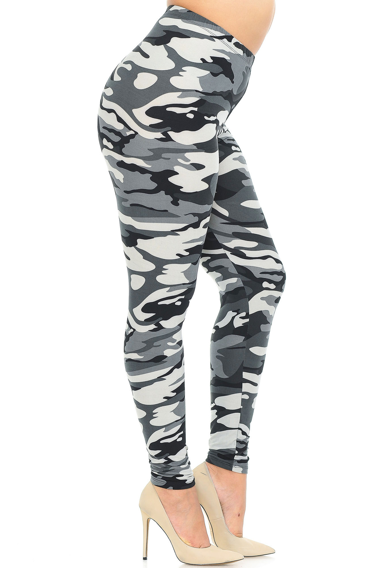 Brushed  Charcoal Camouflage Extra Plus Size Leggings - 3X-5X