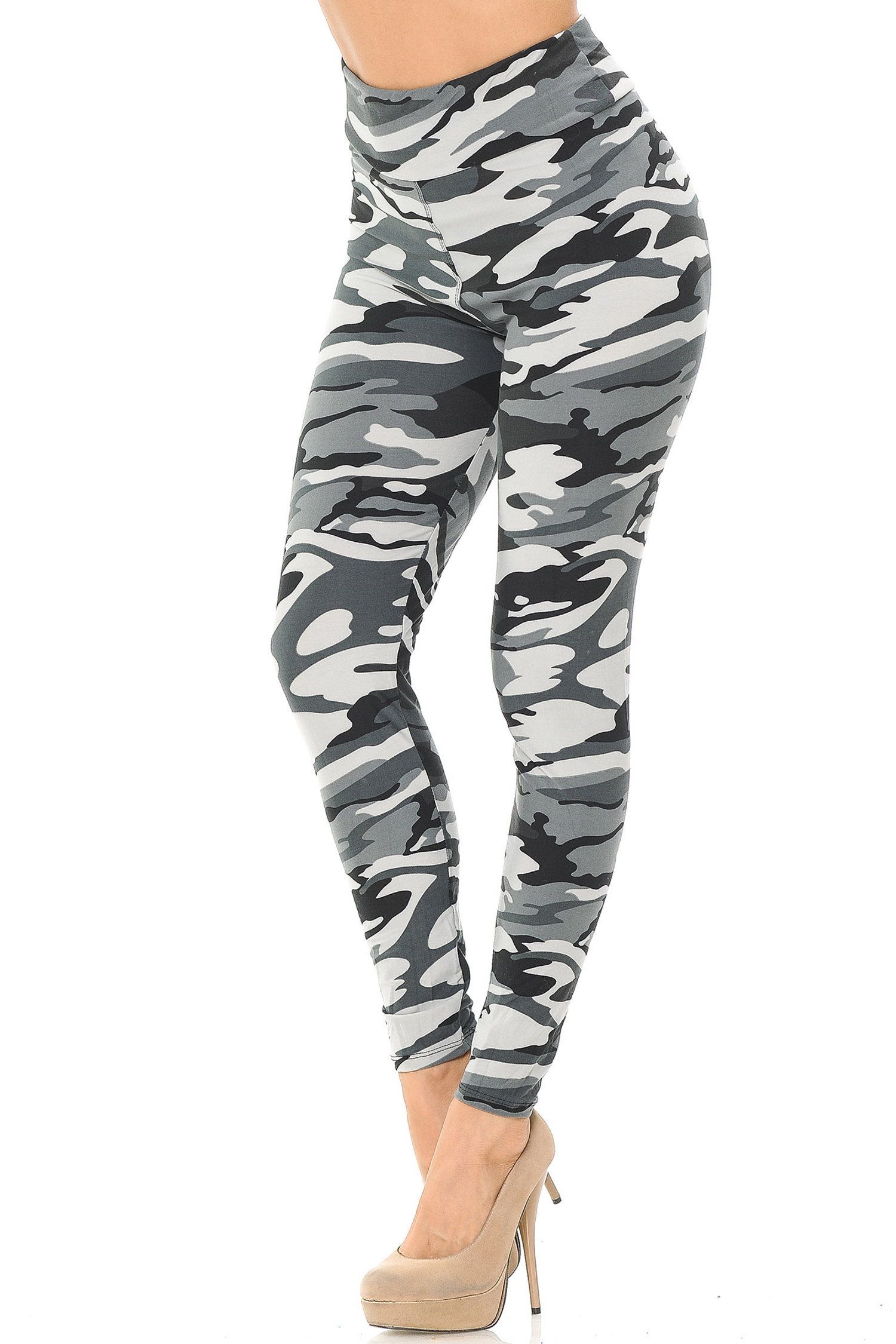Brushed  Charcoal Camouflage High Waisted Leggings