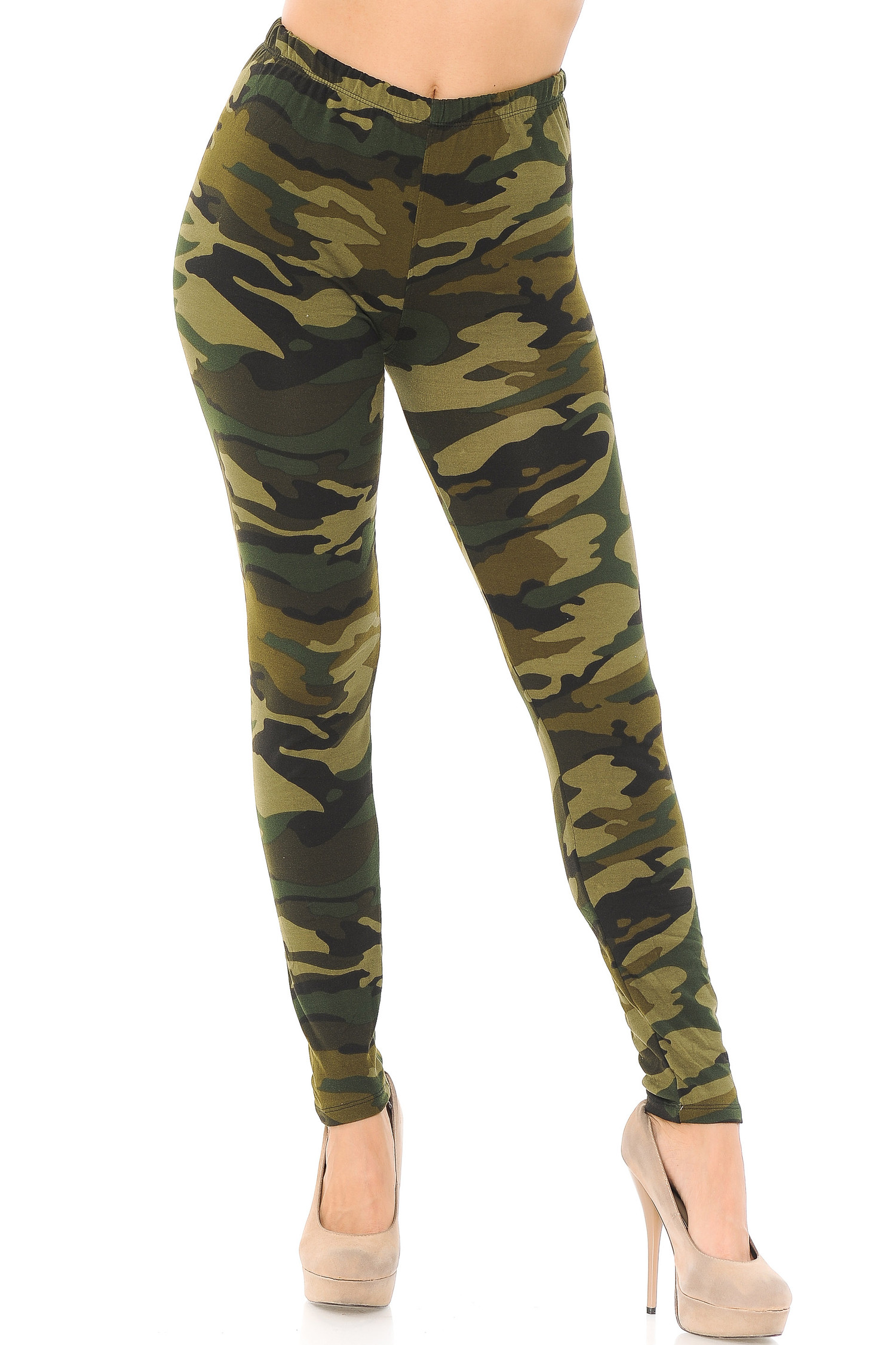 Brushed  Green Camouflage Leggings