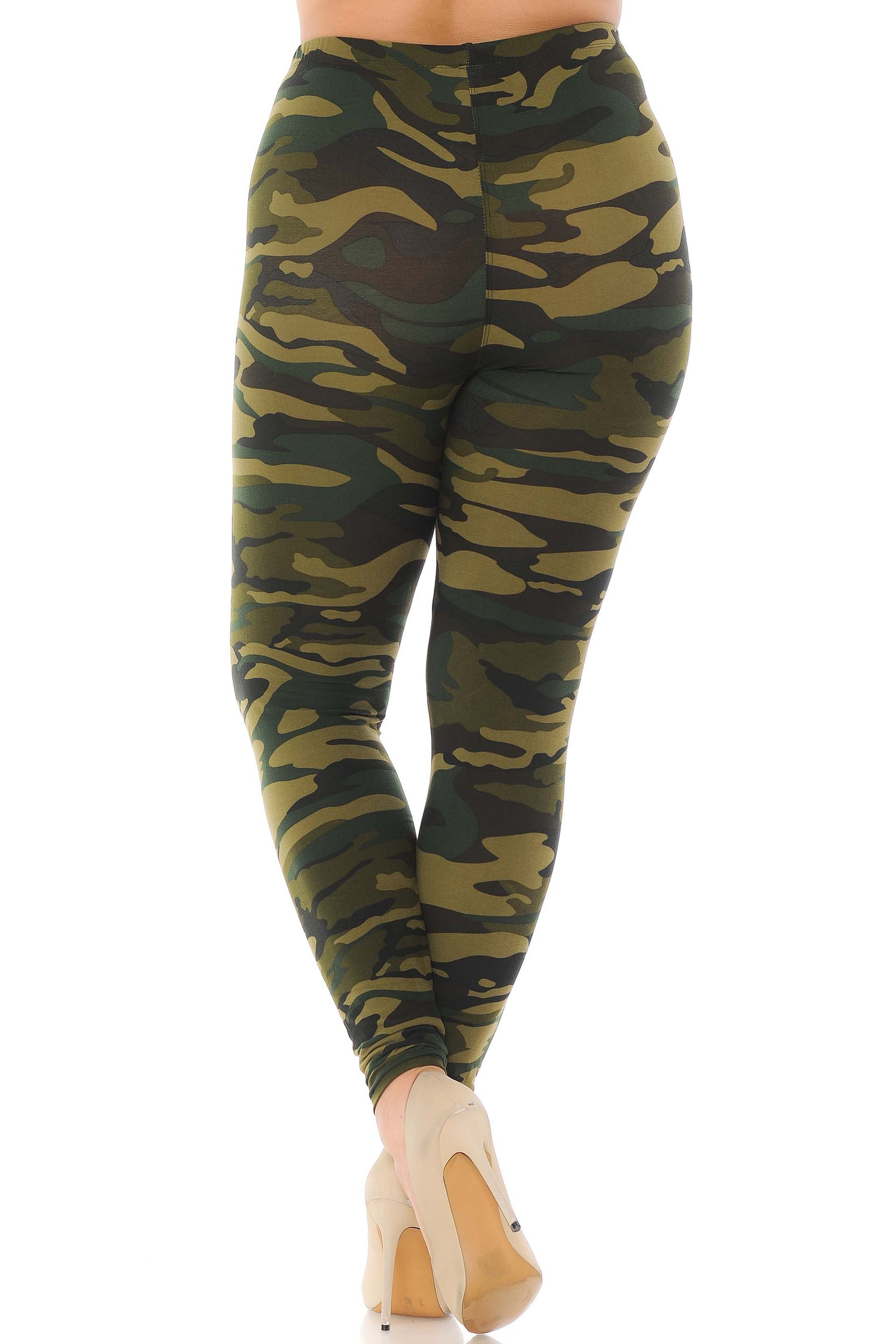 Brushed  Green Camouflage Plus Size Leggings
