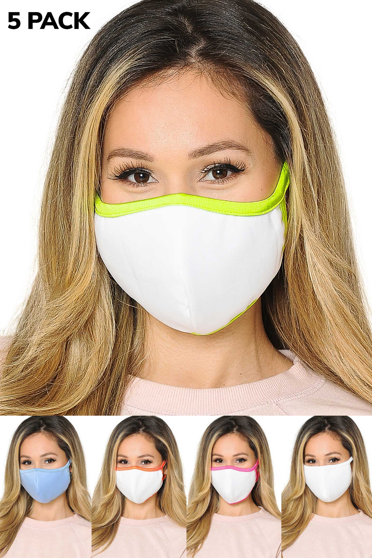 5 Pack - 2 Ply Cotton Inner Silky Scuba Outer Face Masks - Made in the USA - Reusable