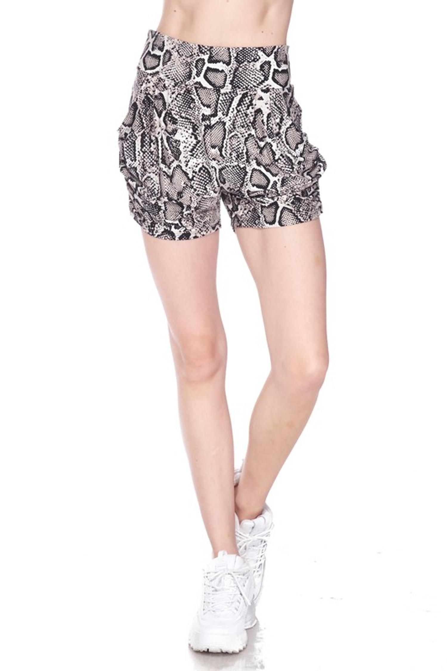 Buttery Soft Beige Boa Snakeskin Plus Size Harem Shorts