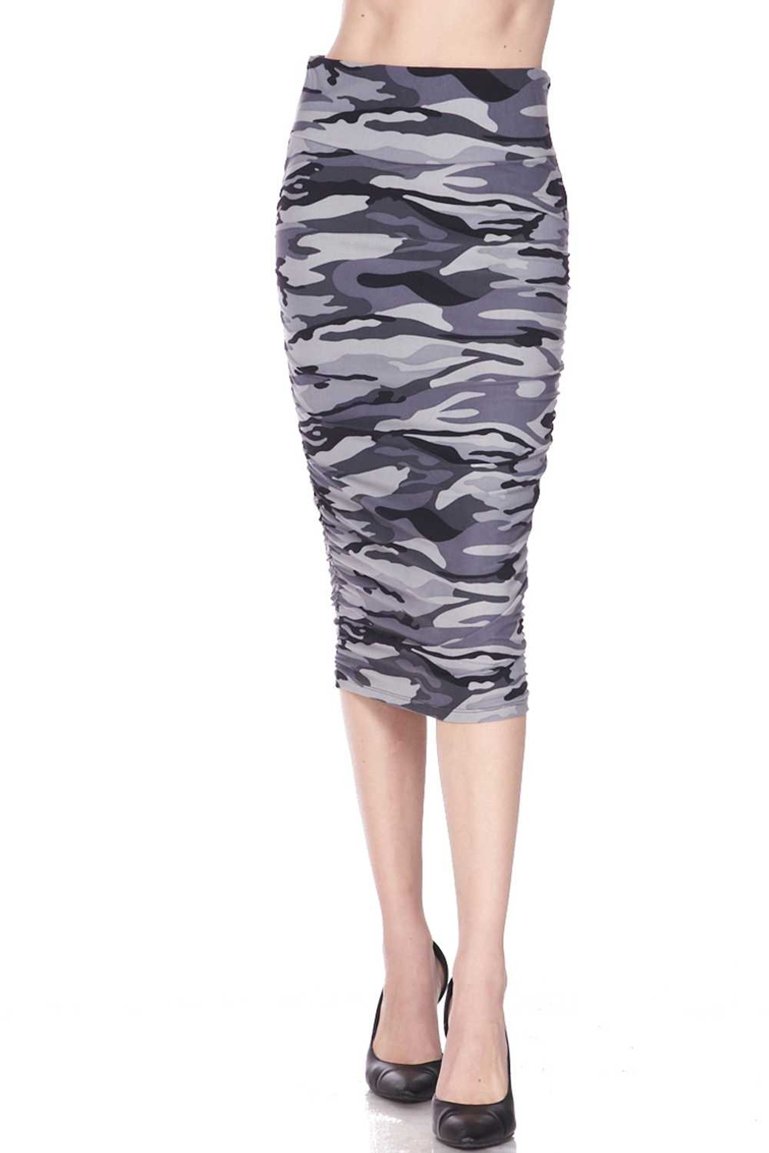 Buttery Soft Charcoal Camouflage Pencil Skirt
