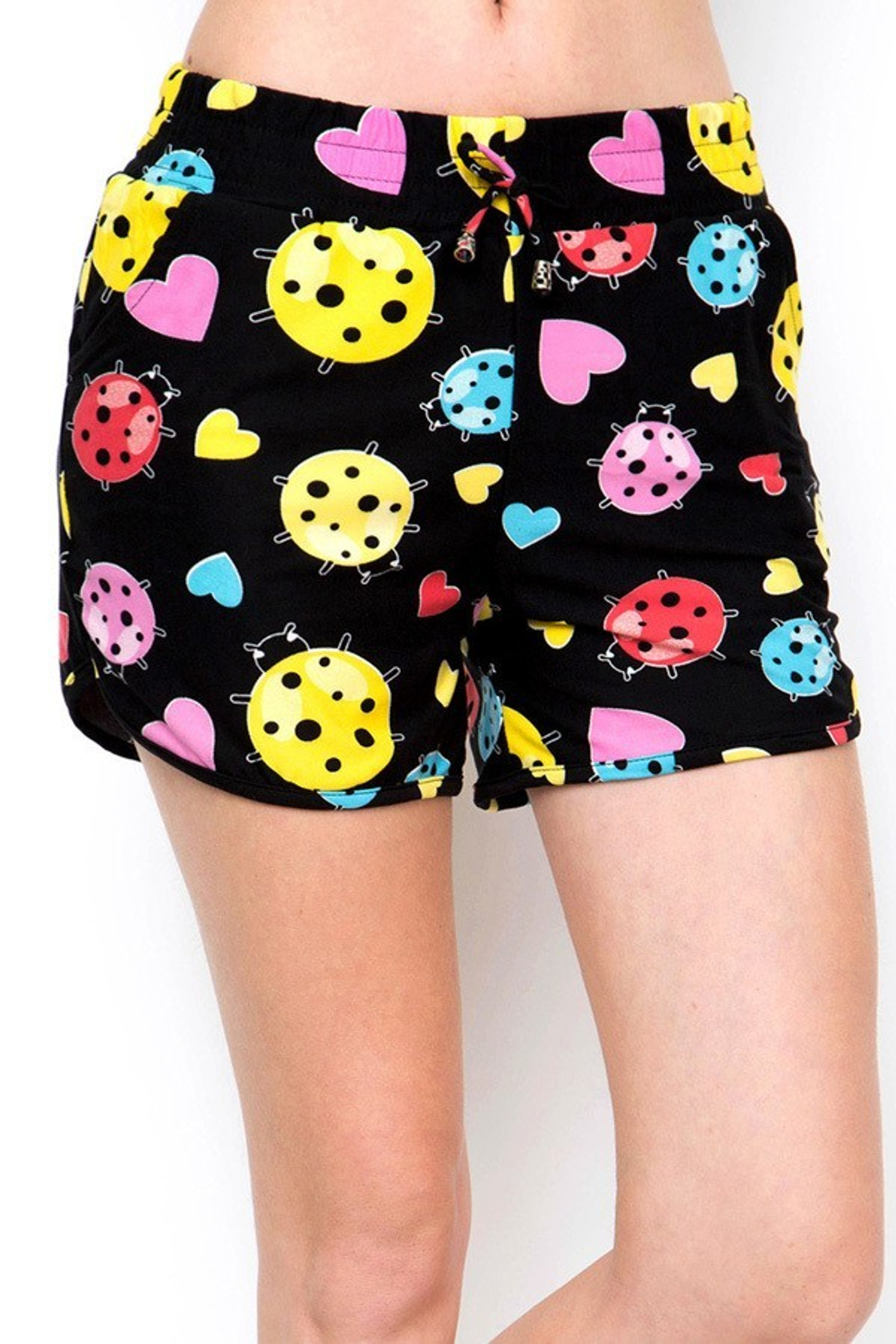 Buttery Soft Ladybugs and Hearts Dolphin Shorts