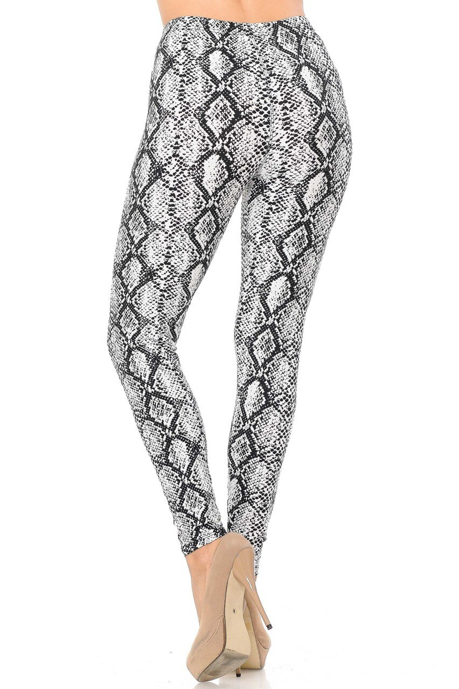 Buttery Soft White Snakeskin Extra Plus Size Leggings - 3X-5X