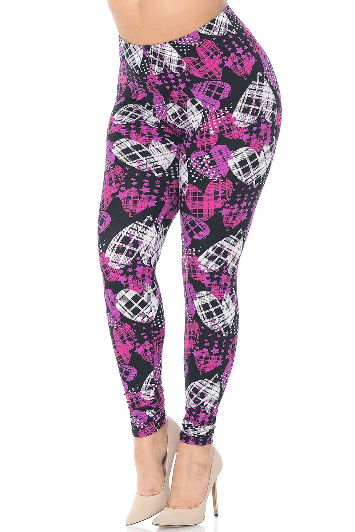 Buttery Soft Stars and Plaid Hearts Extra Plus Size Leggings - 3X-5X