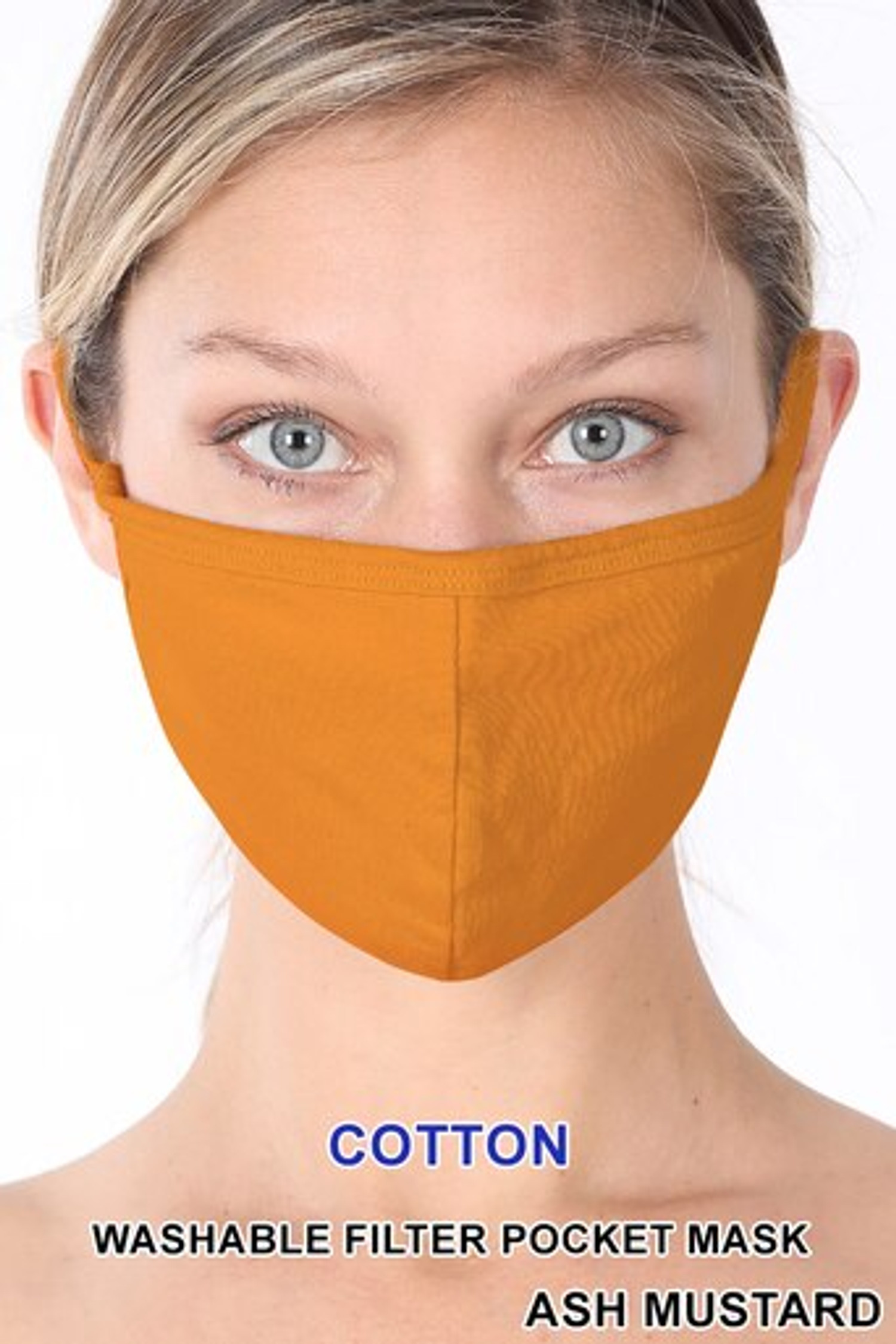 Ash Mustard Solid Cotton Face Mask - Imported
