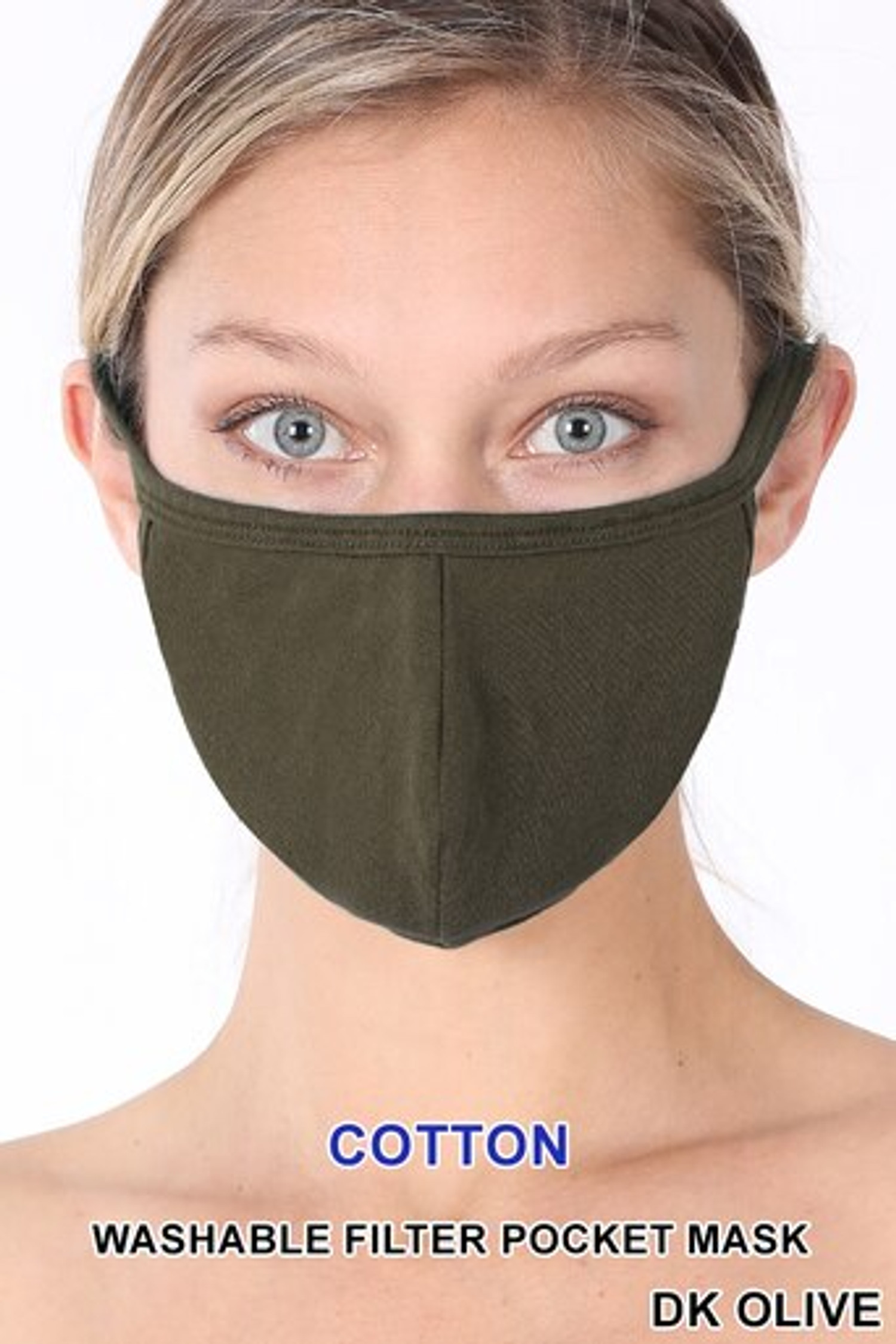 Dark Olive Solid Cotton Face Mask - Imported