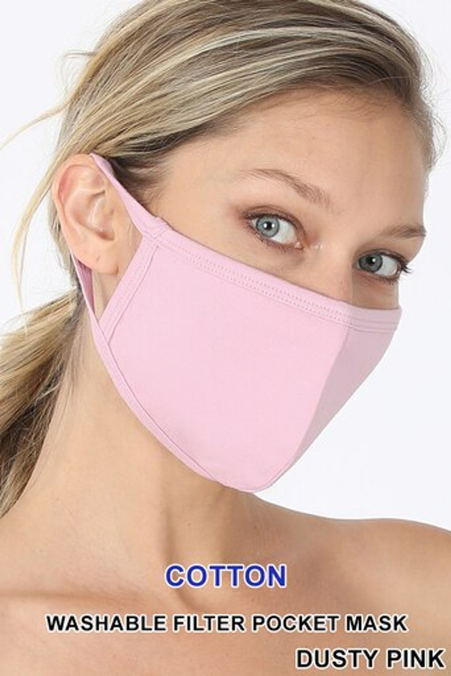 Dusty Pink Solid Cotton Face Mask - Imported