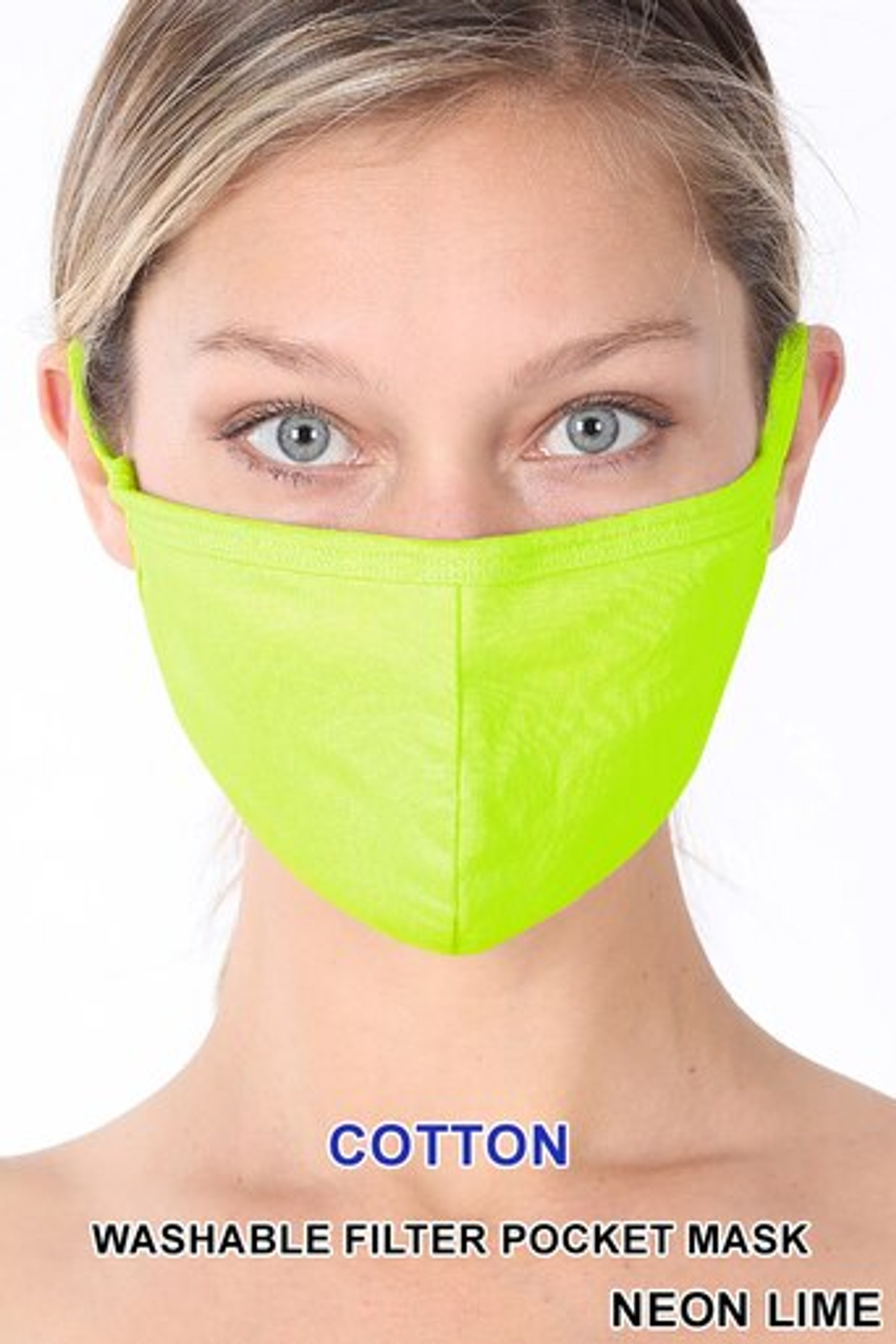 Neon Lime Solid Cotton Face Mask - Imported