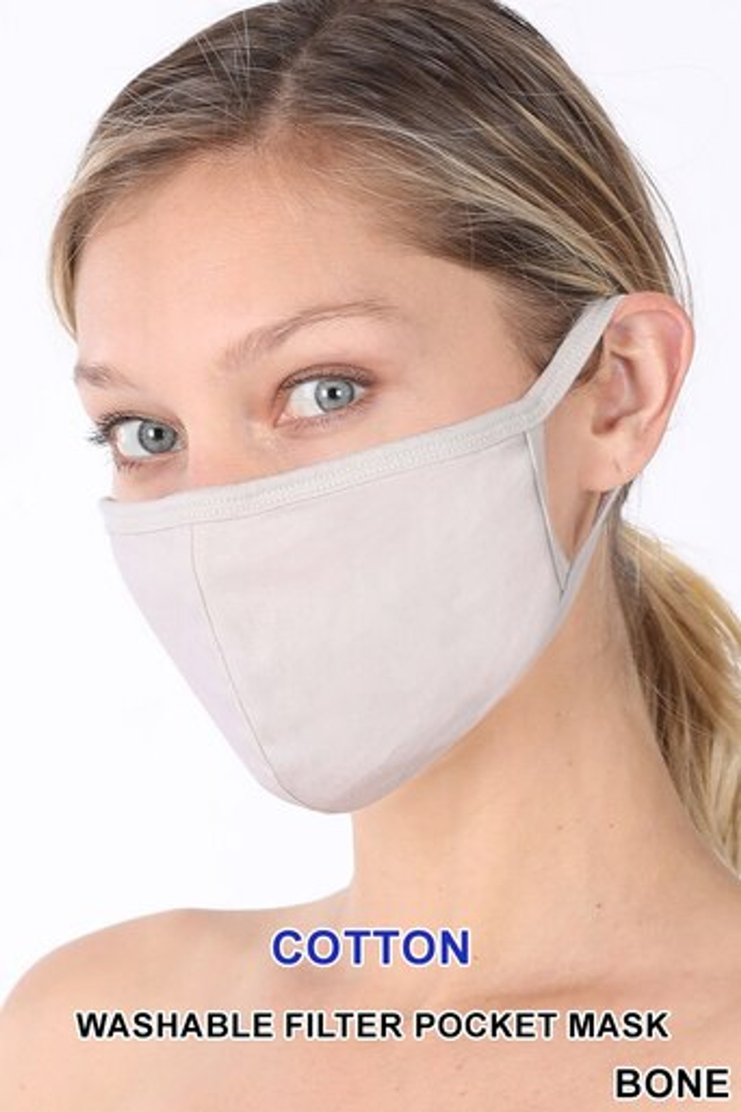 Bone Solid Cotton Face Mask - Imported
