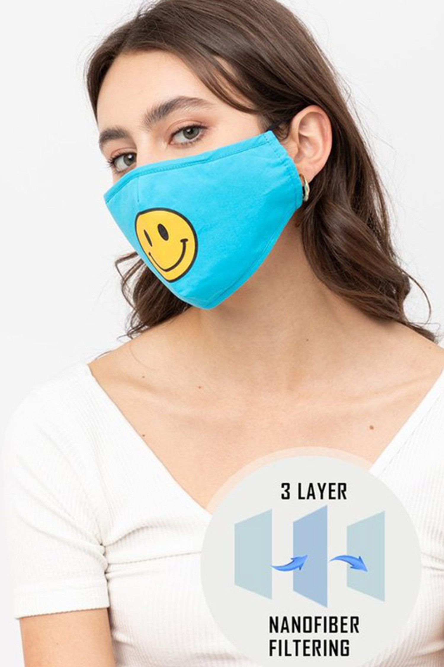 Bright Blue Smiley Face Mask with Built In Filter and Nose Bar